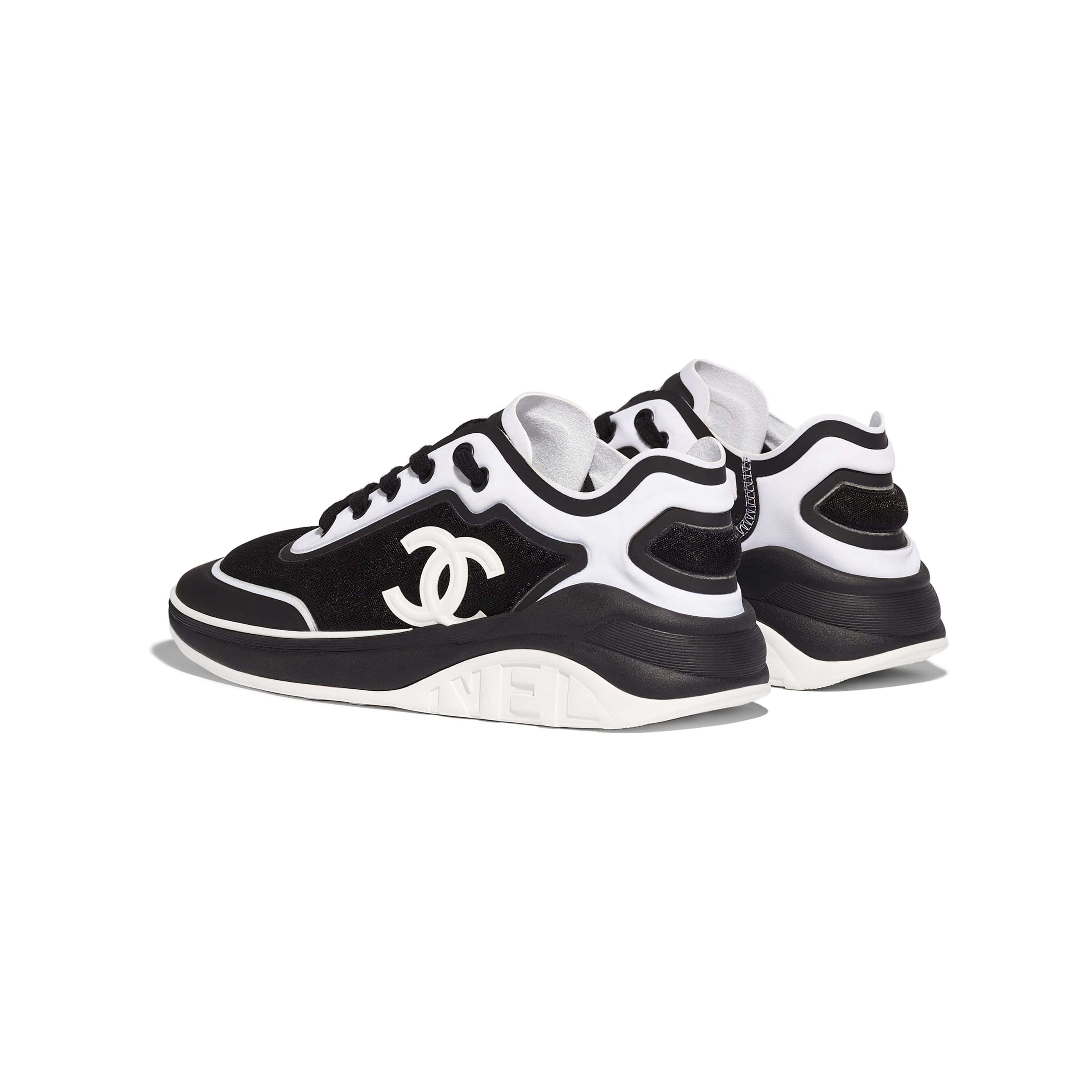 Sneakers - Black & White - Mesh & Lycra - Other view - see standard sized version