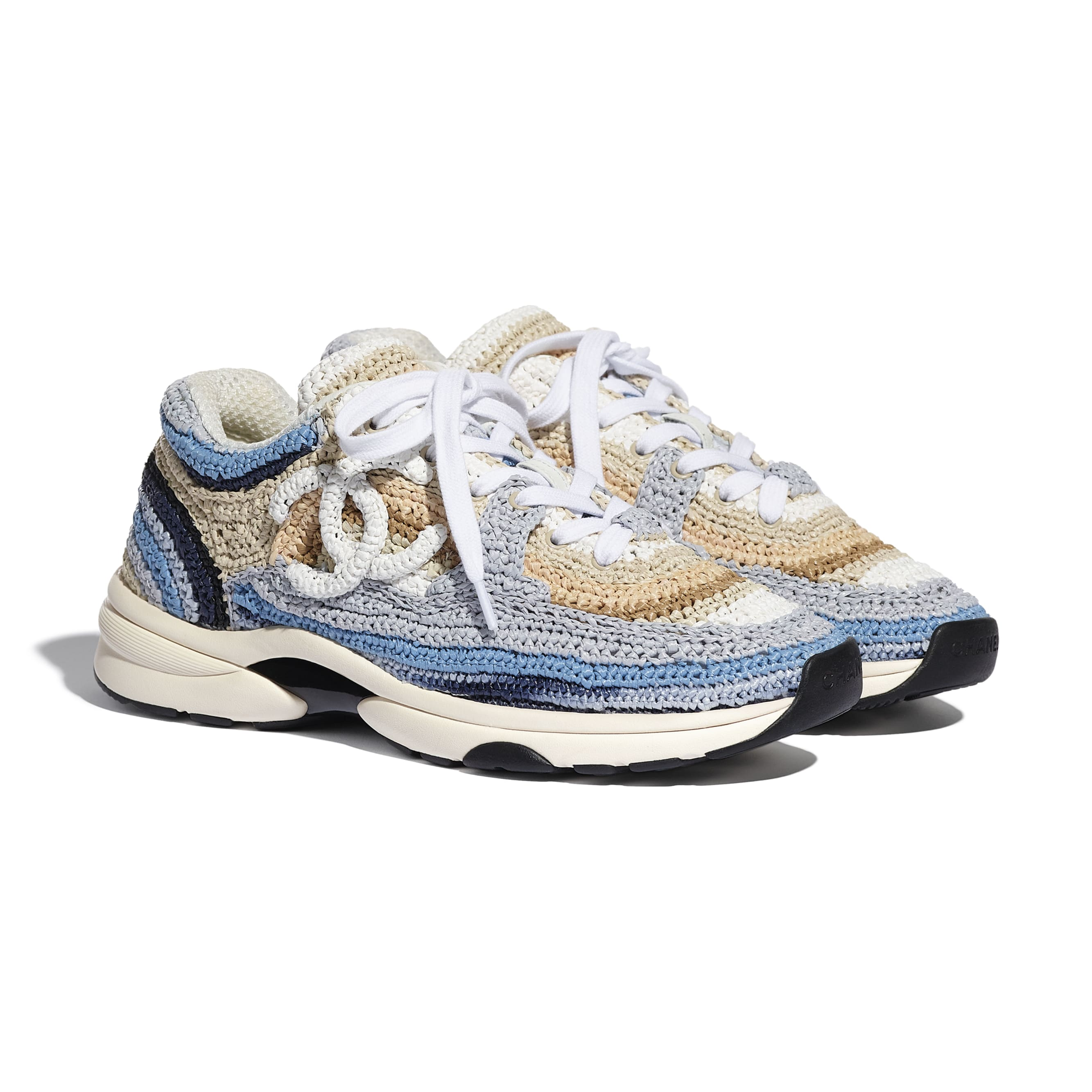 Trainers - Blue & Beige - Braided Raffia - CHANEL - Alternative view - see standard sized version