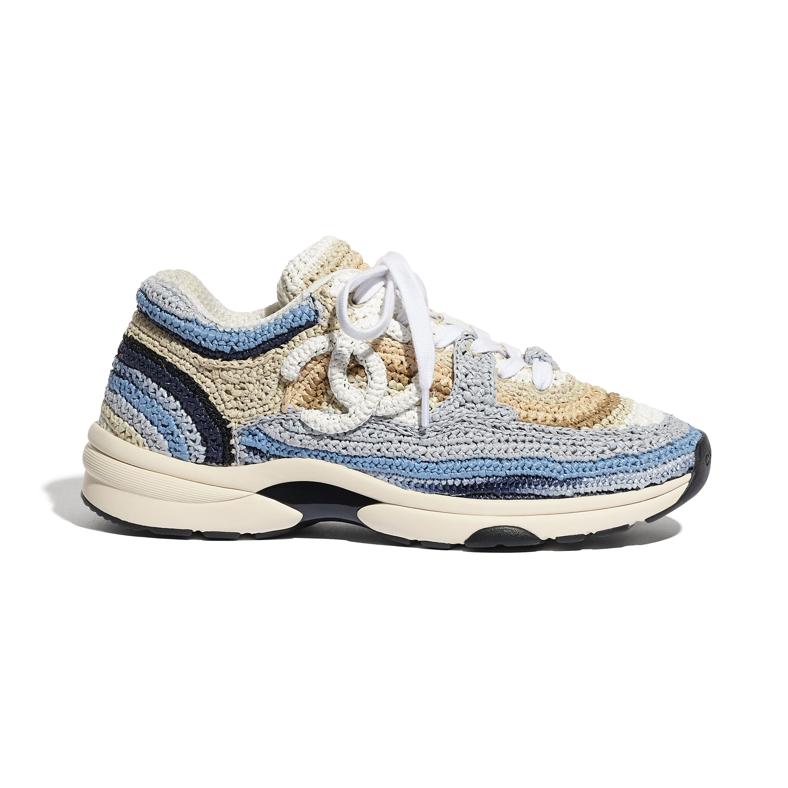 Trainers - Blue & Beige - Braided Raffia - CHANEL - Default view - see standard sized version