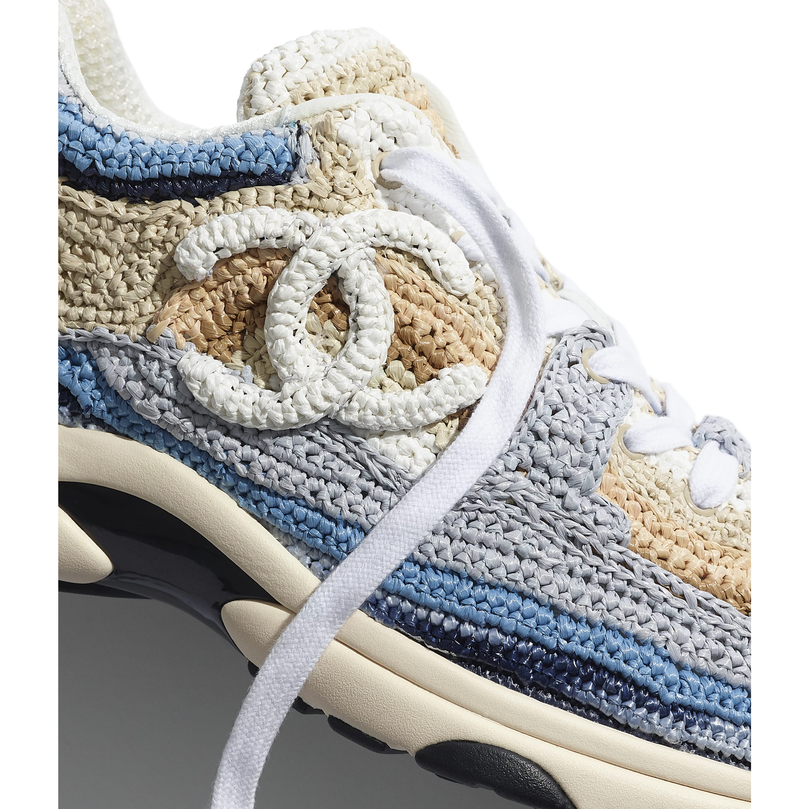 Trainers - Blue & Beige - Braided Raffia - CHANEL - Extra view - see standard sized version