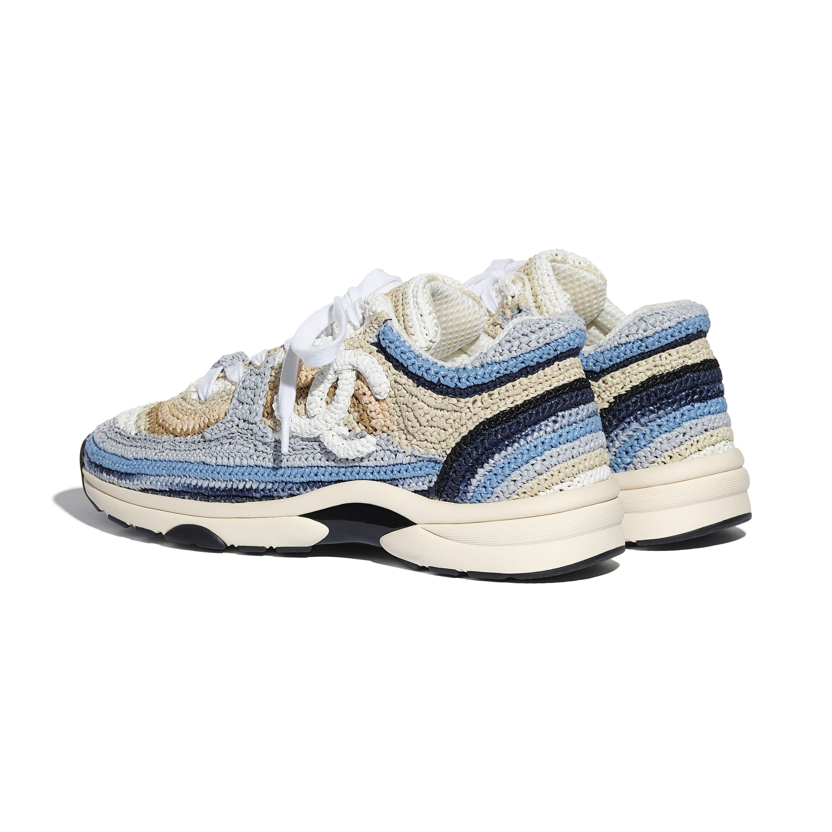 Trainers - Blue & Beige - Braided Raffia - CHANEL - Other view - see standard sized version