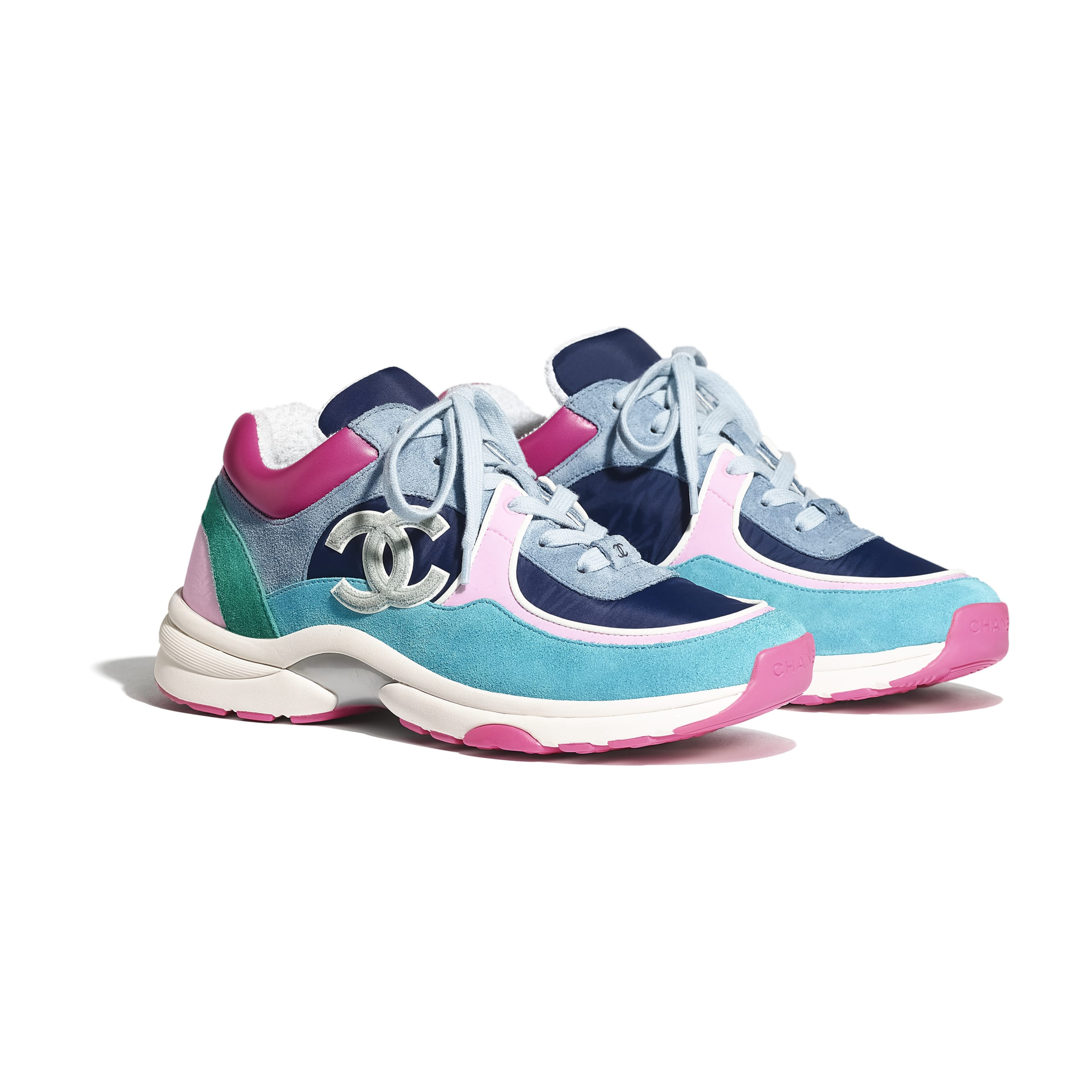Sneakers - Blue, Pink & Turquoise - Velvet Calfskin & Mixed Fibers - CHANEL - Alternative view - see standard sized version