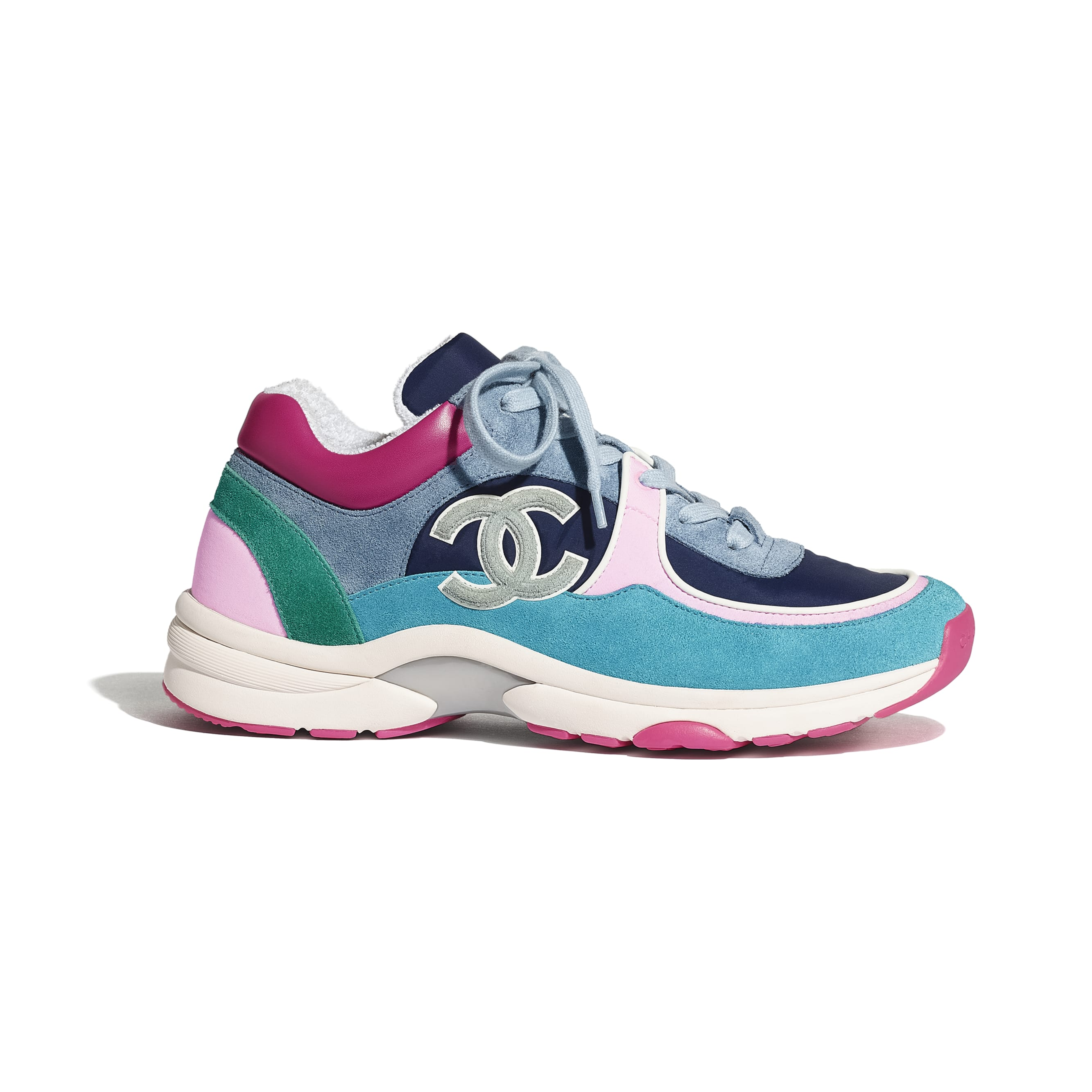 Sneakers - Blue, Pink & Turquoise - Velvet Calfskin & Mixed Fibers - CHANEL - Default view - see standard sized version