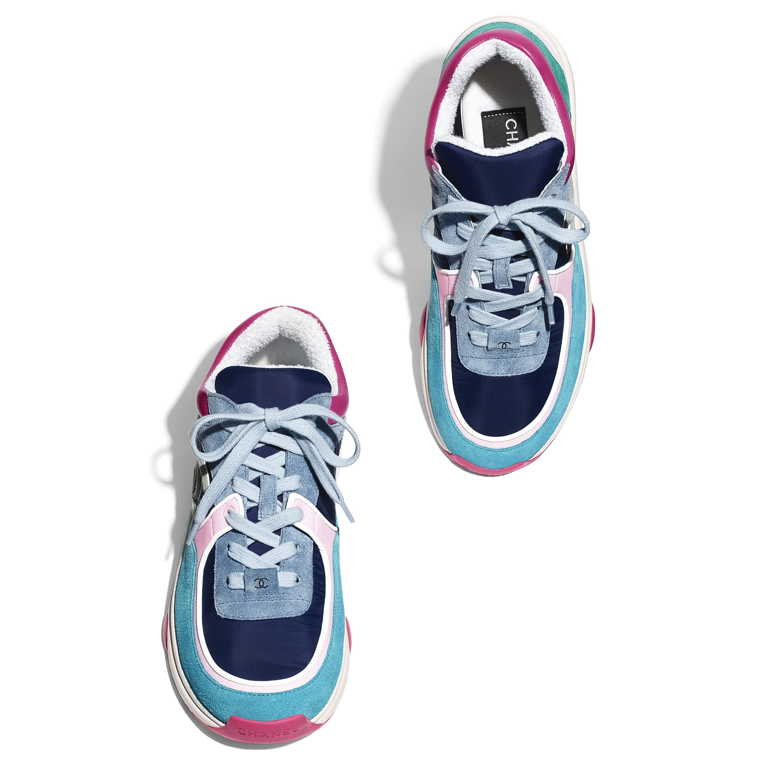 Sneakers - Blue, Pink & Turquoise - Velvet Calfskin & Mixed Fibers - CHANEL - Extra view - see standard sized version