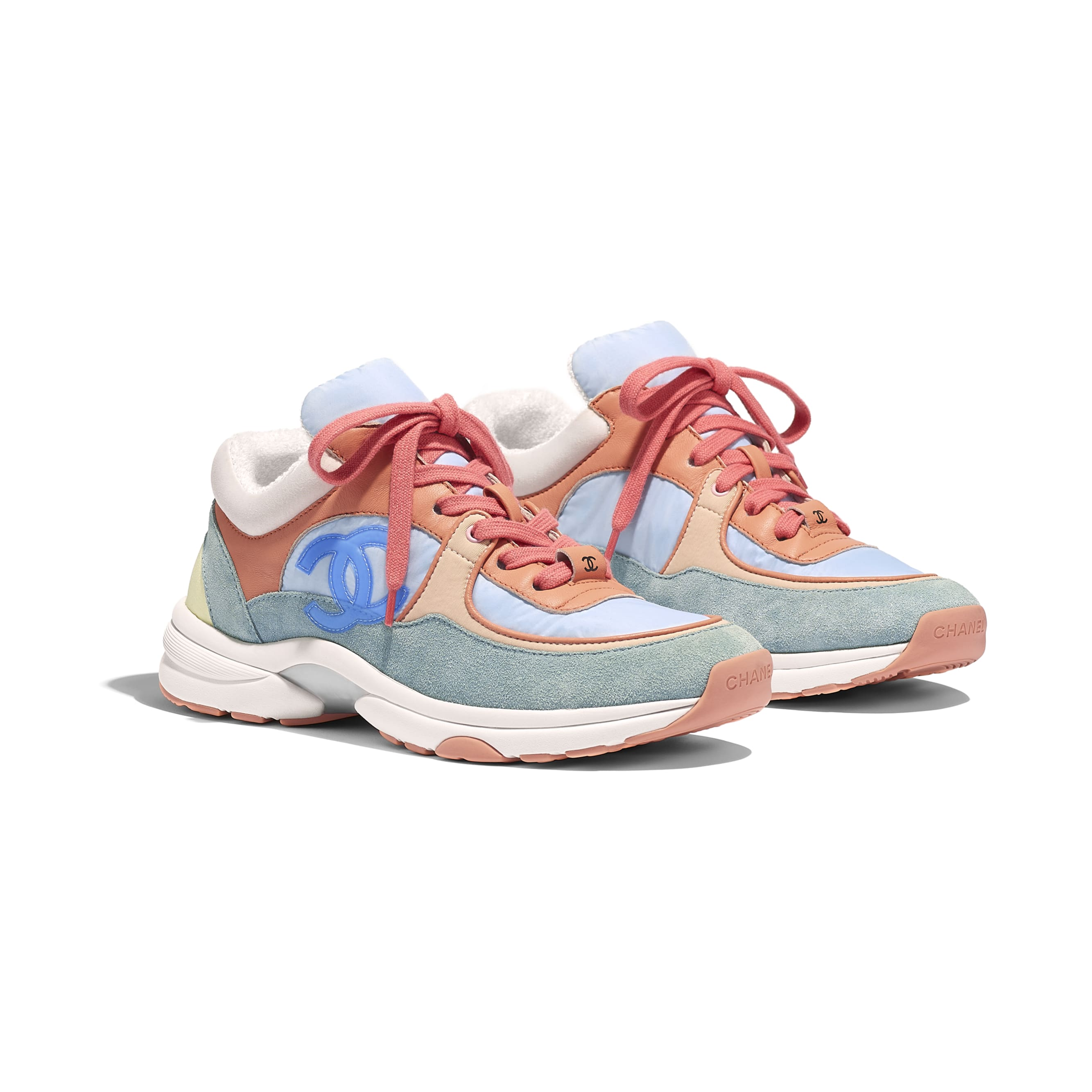 Sneakers - Coral, Light Blue & White - Nylon, Lambskin & Suede Calfskin - Alternative view - see standard sized version