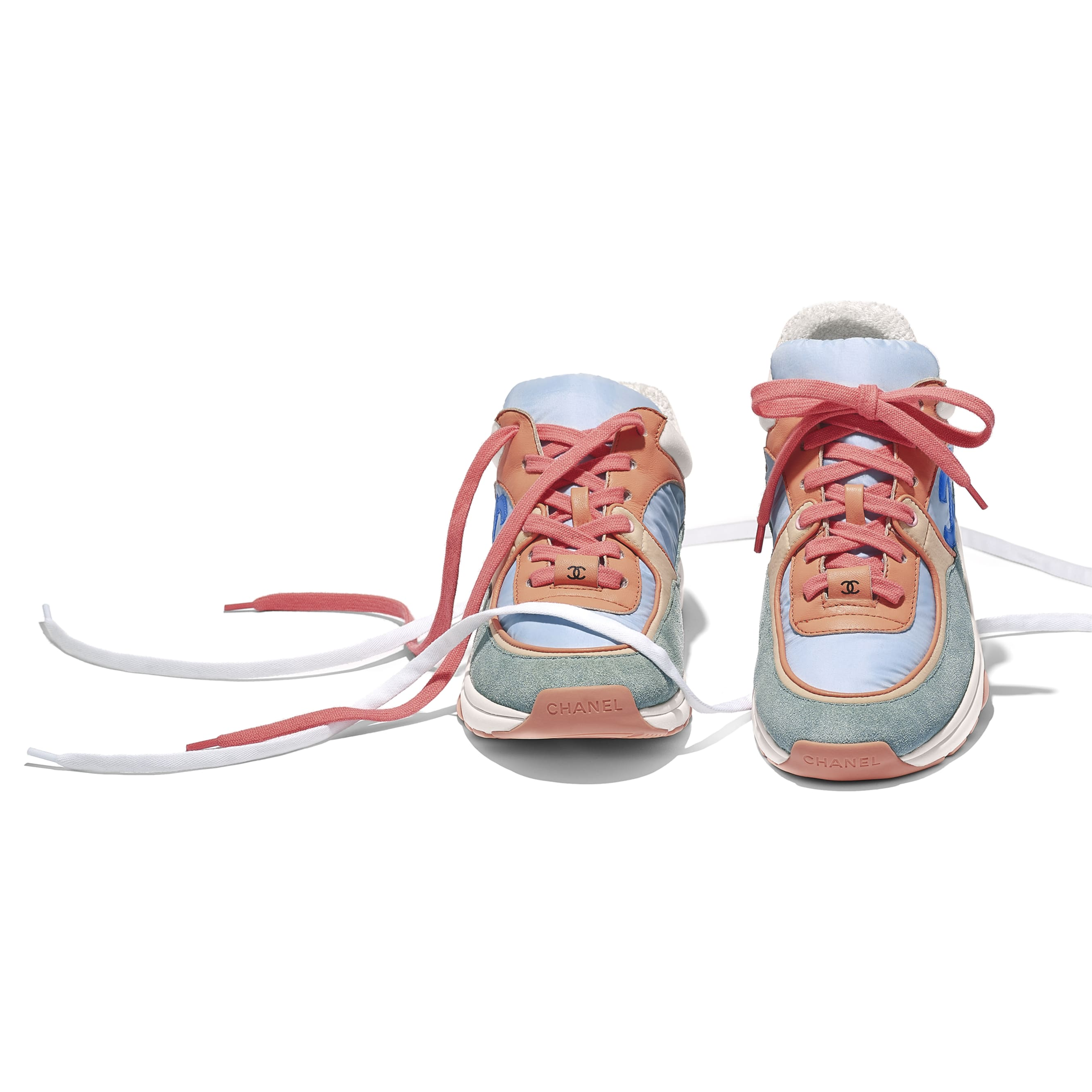 Sneakers - Coral, Light Blue & White - Nylon, Lambskin & Suede Calfskin - Other view - see standard sized version