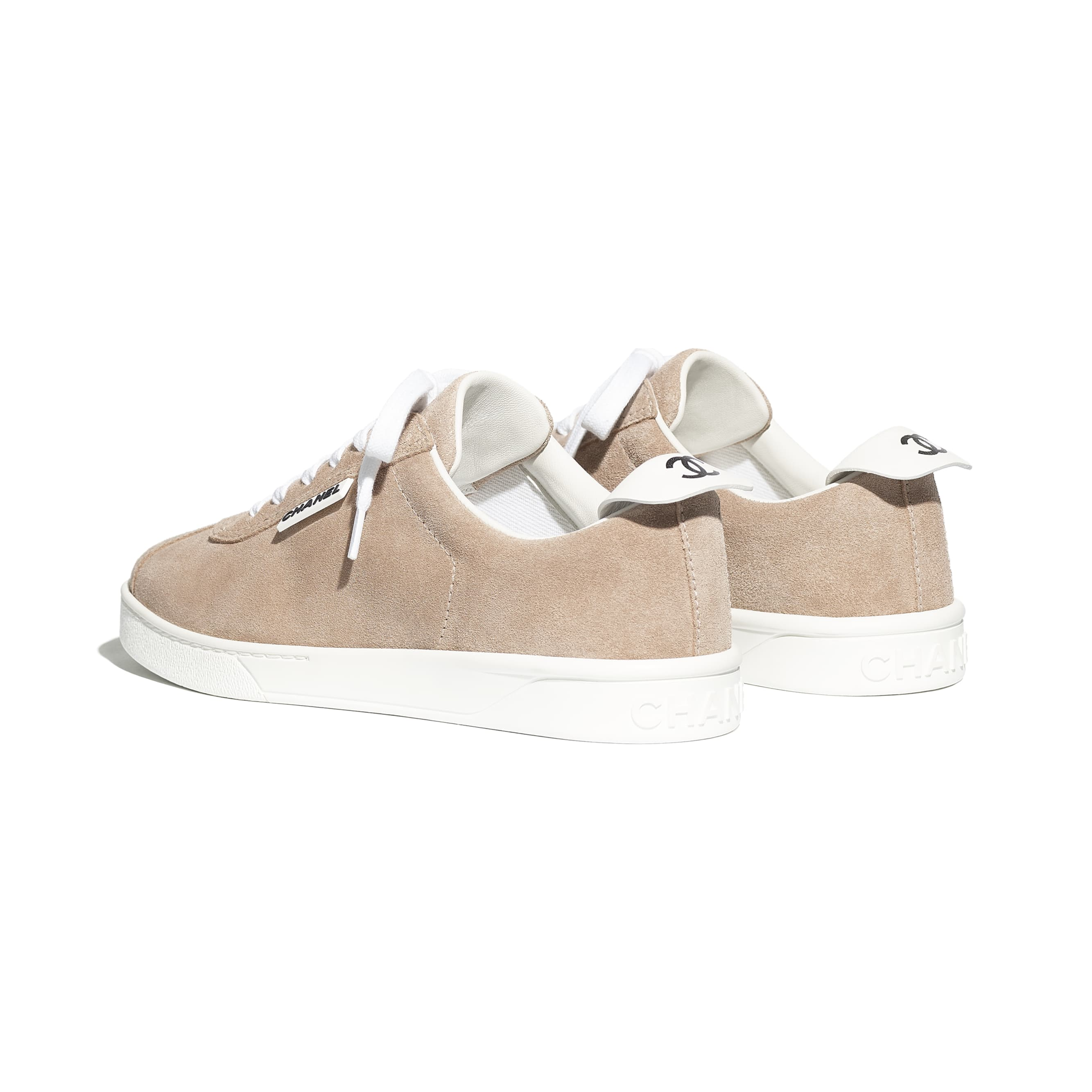 Trainers - Dark Beige - Suede Calfskin - CHANEL - Other view - see standard sized version