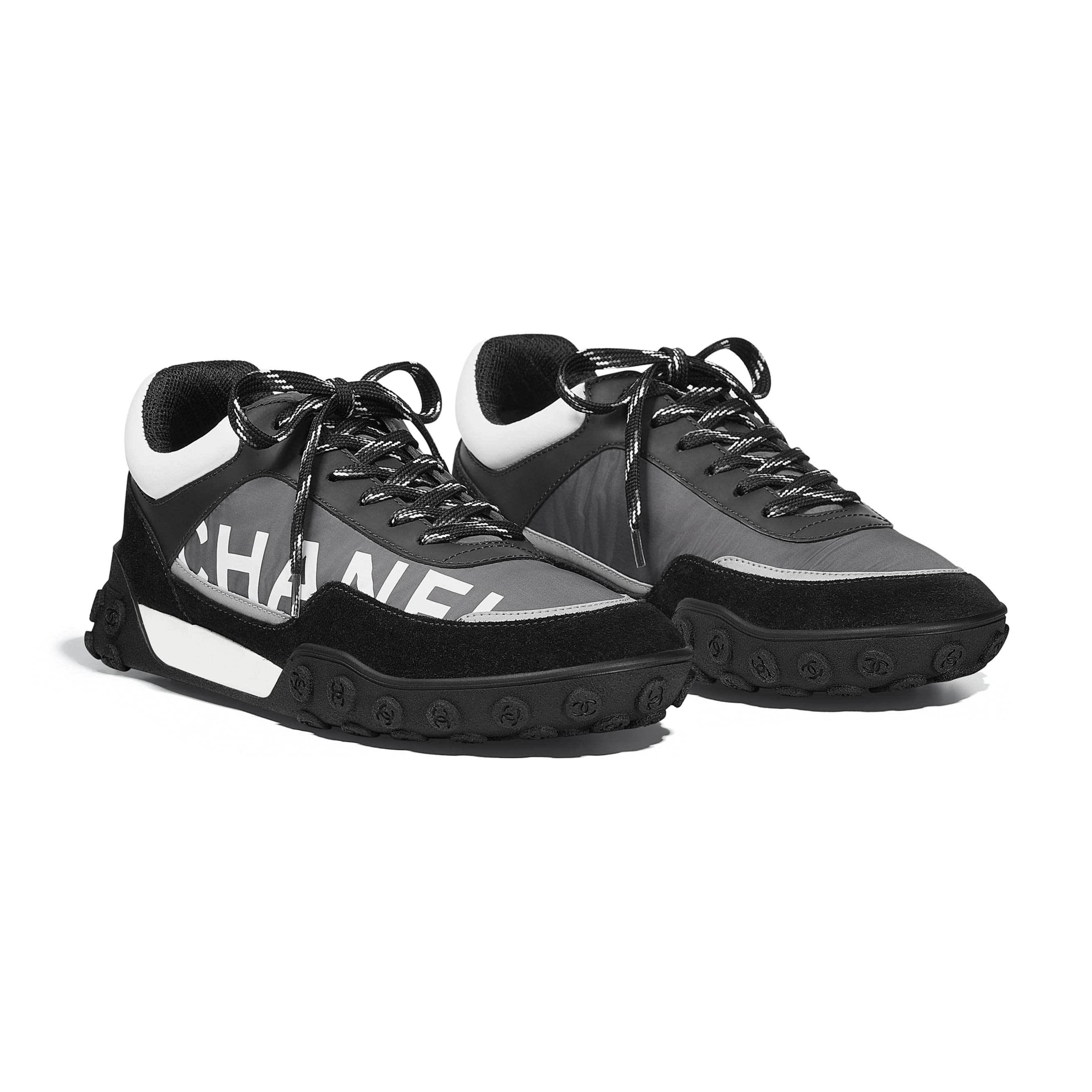 Sneakers - Gray, Black & White - Nylon & Calfskin - Alternative view - see standard sized version