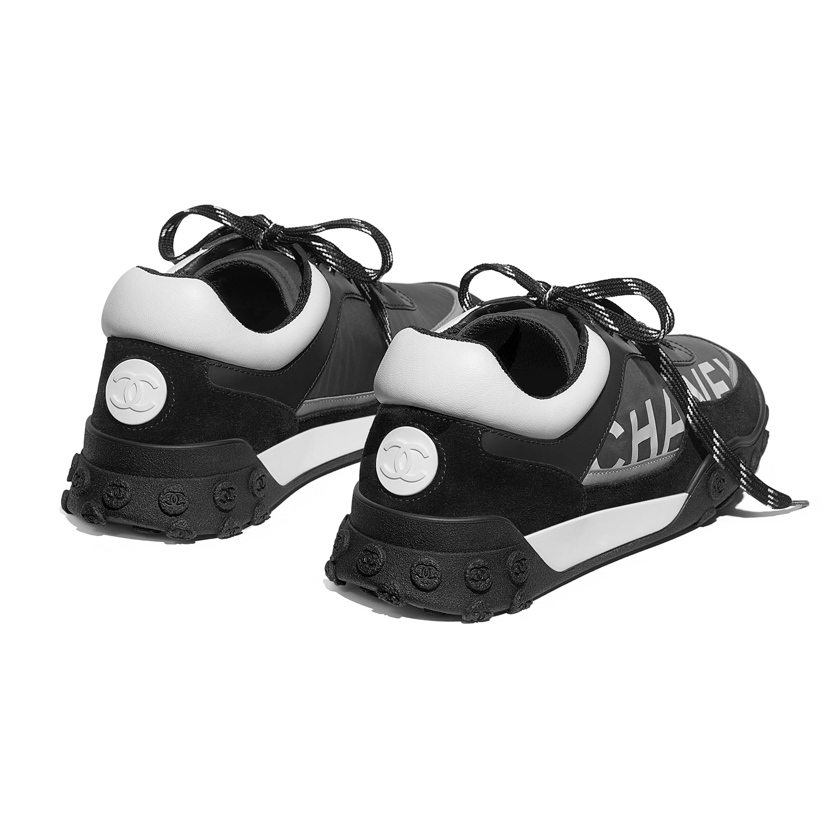 Sneakers - Gray, Black & White - Nylon & Calfskin - Other view - see standard sized version