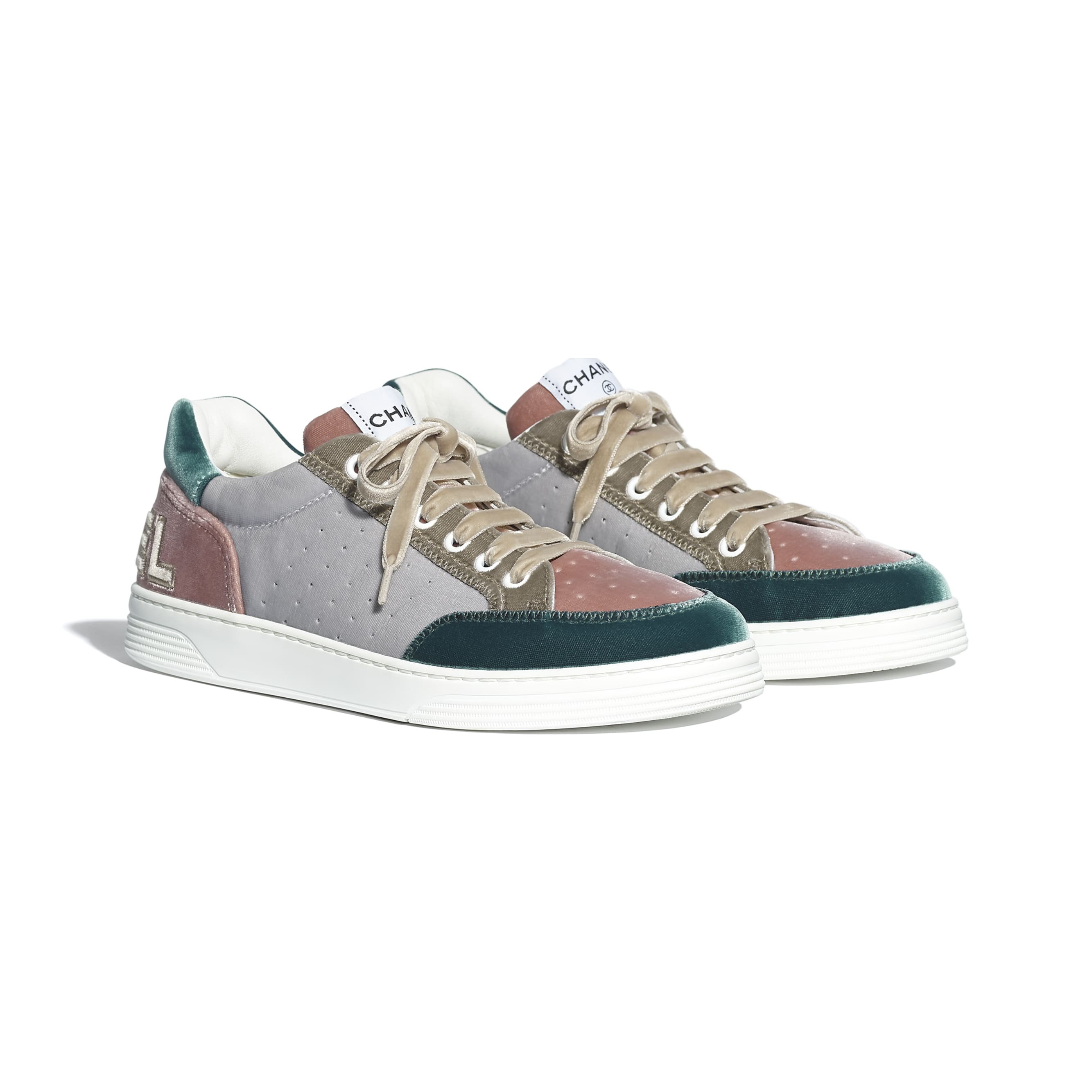 Trainers - Grey, Pink & Green - Velvet - CHANEL - Alternative view - see standard sized version
