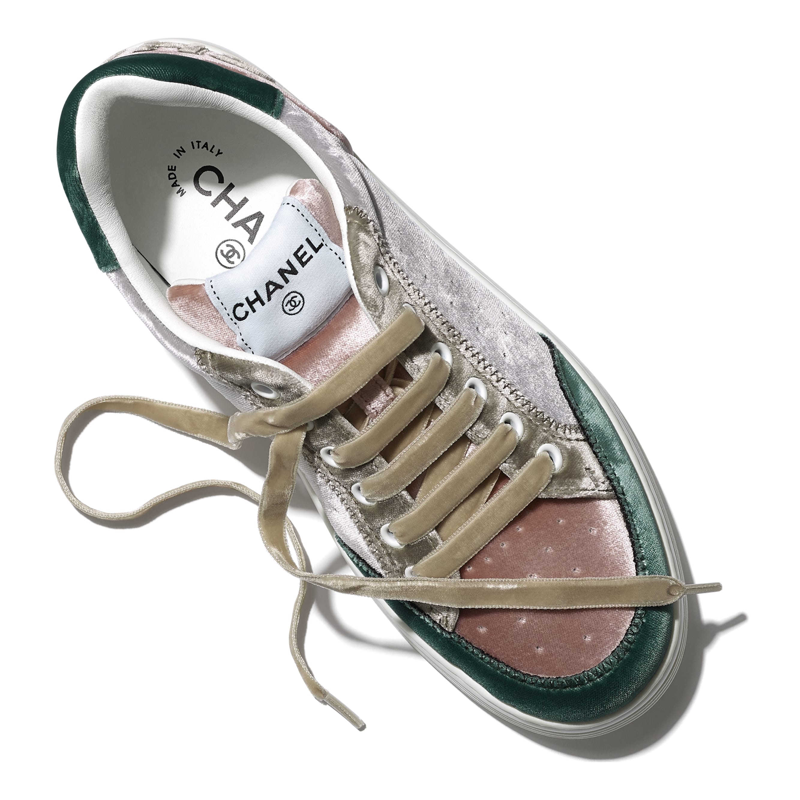 Trainers - Grey, Pink & Green - Velvet - CHANEL - Extra view - see standard sized version