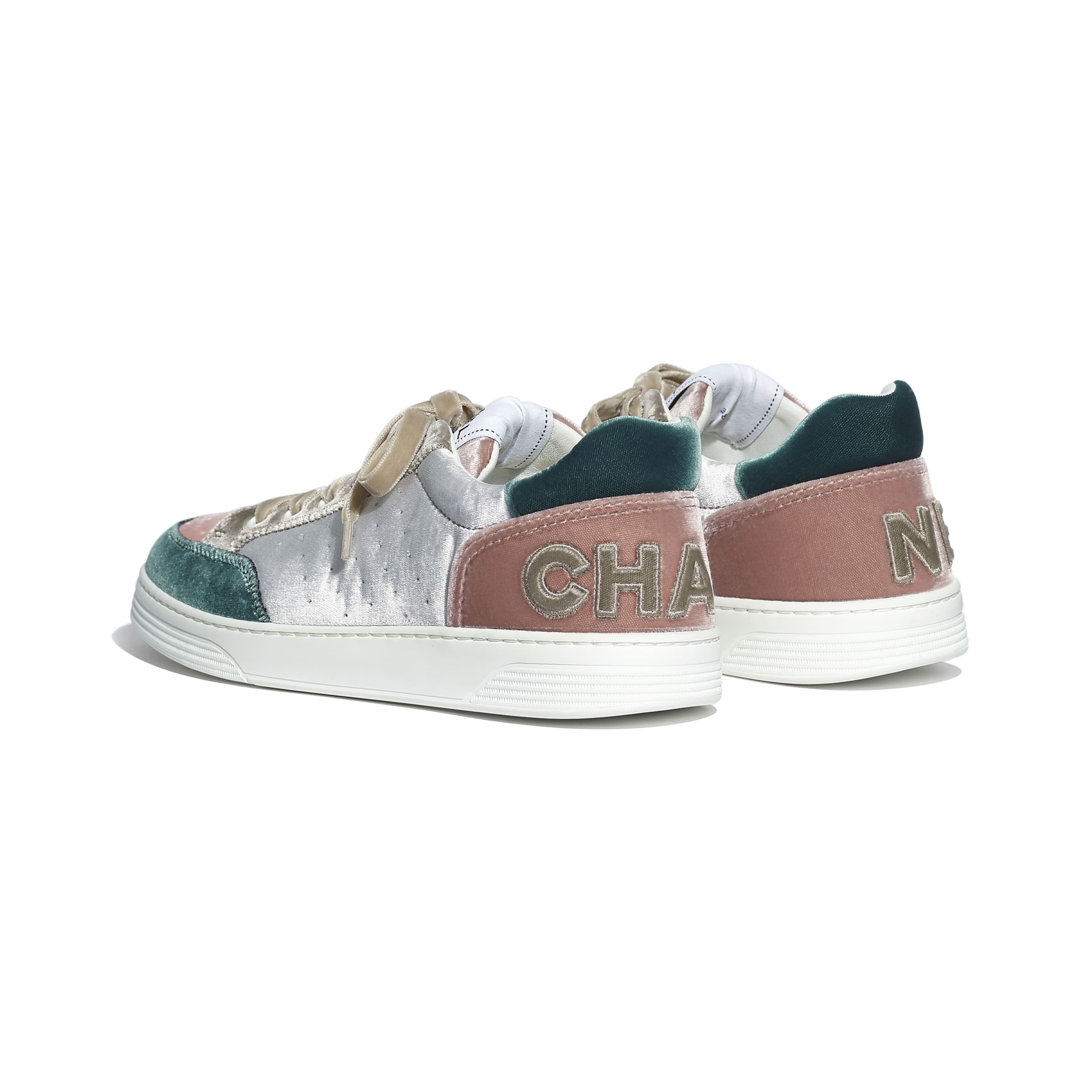 Trainers - Grey, Pink & Green - Velvet - CHANEL - Other view - see standard sized version
