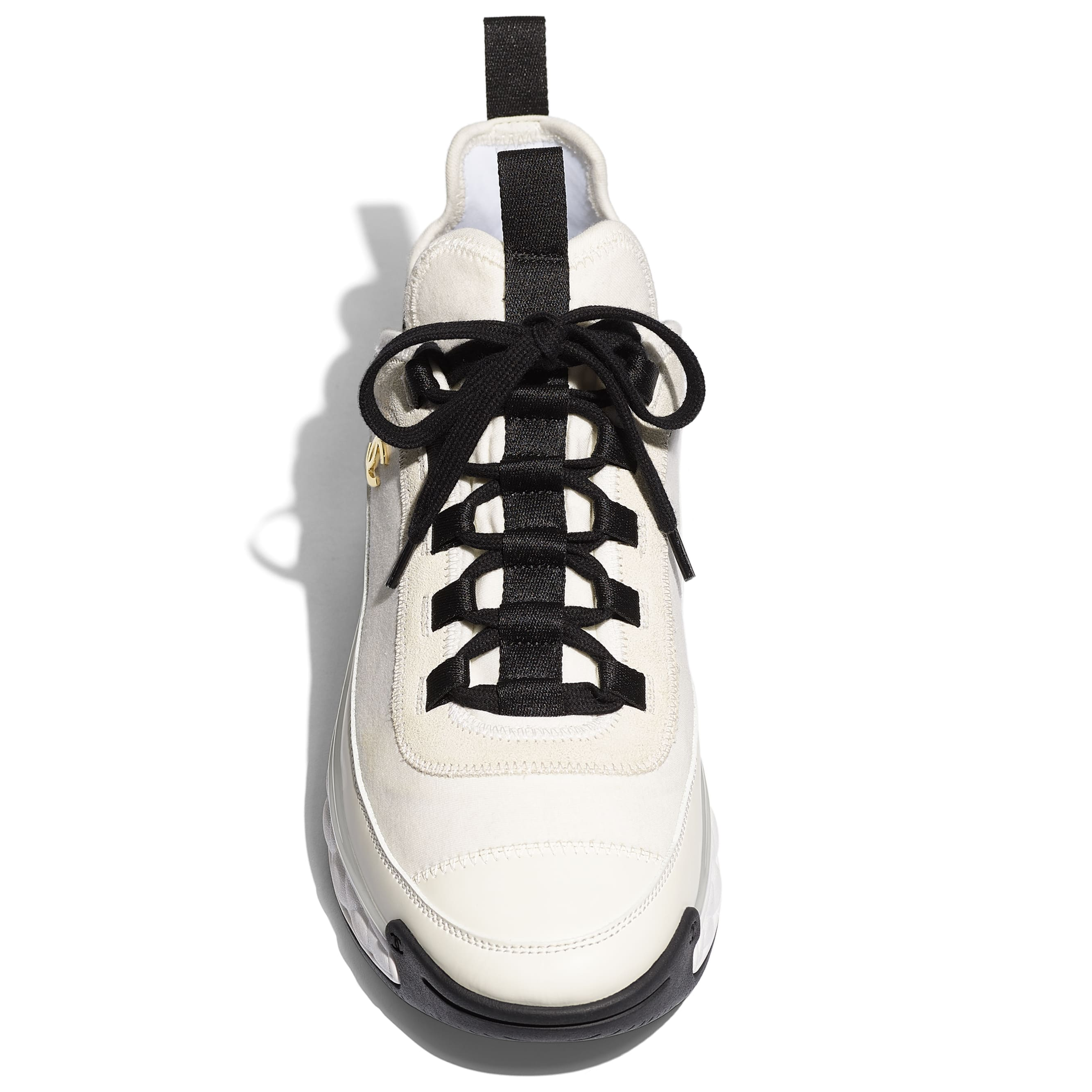 Trainers - Ivory -  Velvet Calfskin & Mixed Fibers - Extra view - see standard sized version