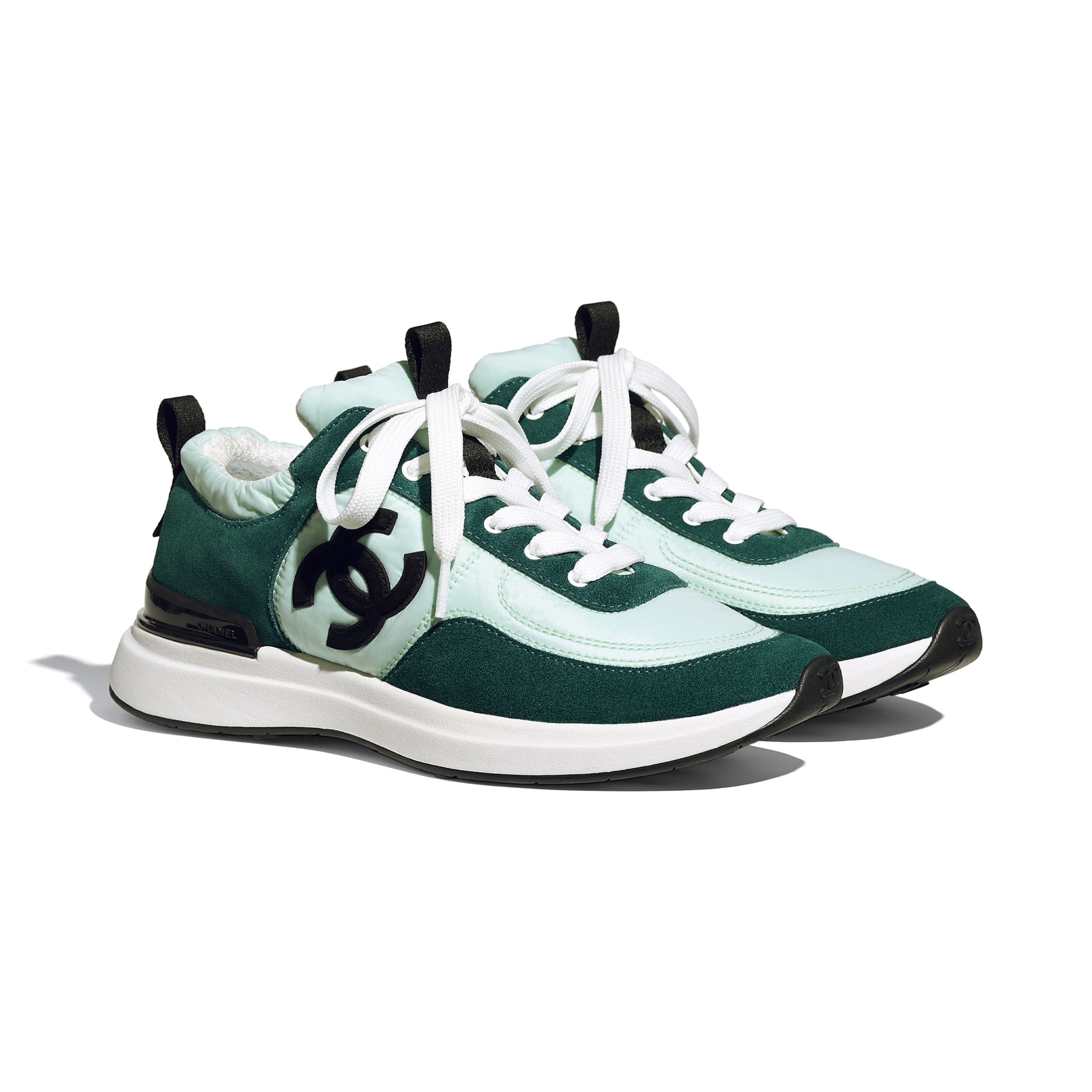 Trainers - Light Green & Green - Suede Calfskin & Nylon - CHANEL - Alternative view - see standard sized version