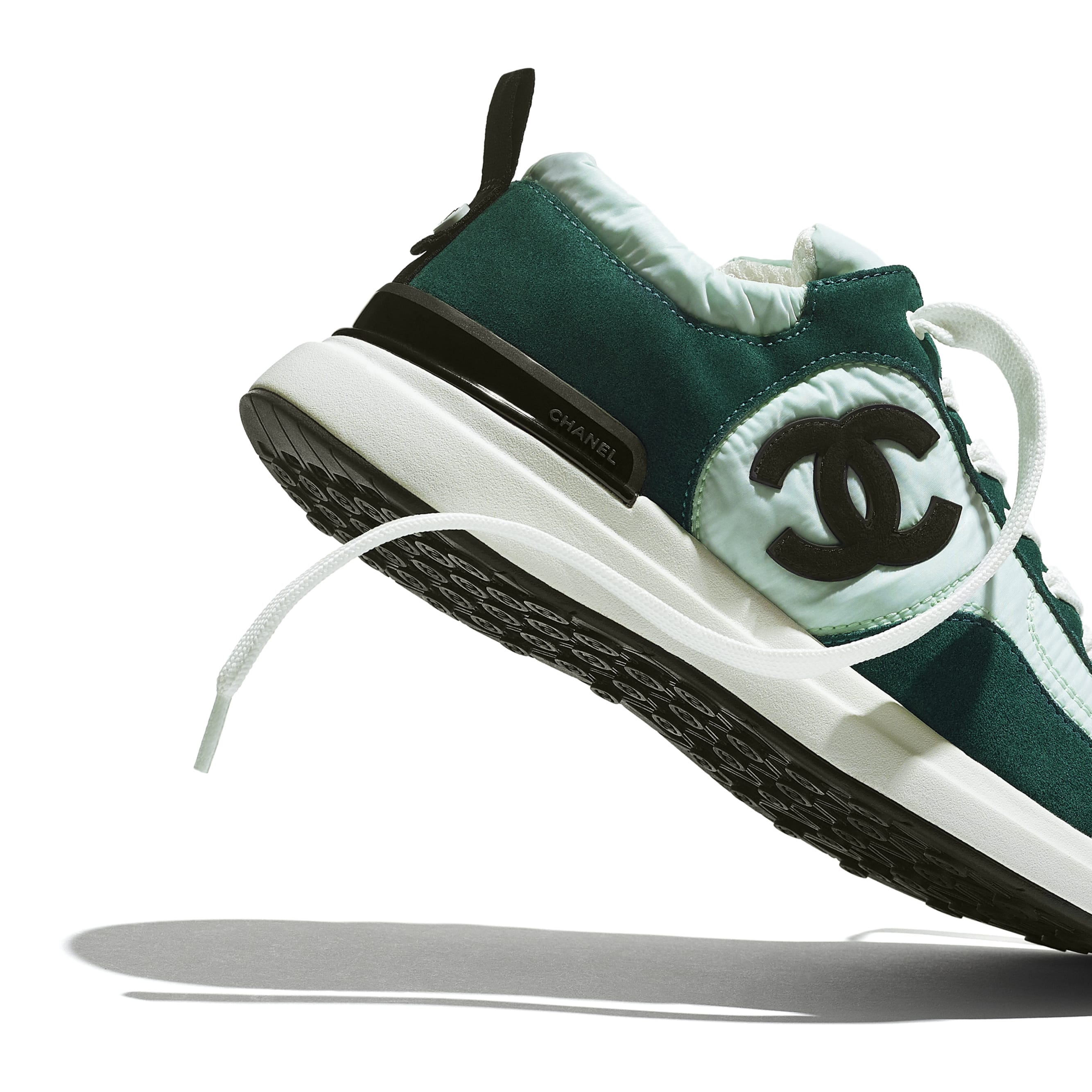 Trainers - Light Green & Green - Suede Calfskin & Nylon - CHANEL - Extra view - see standard sized version