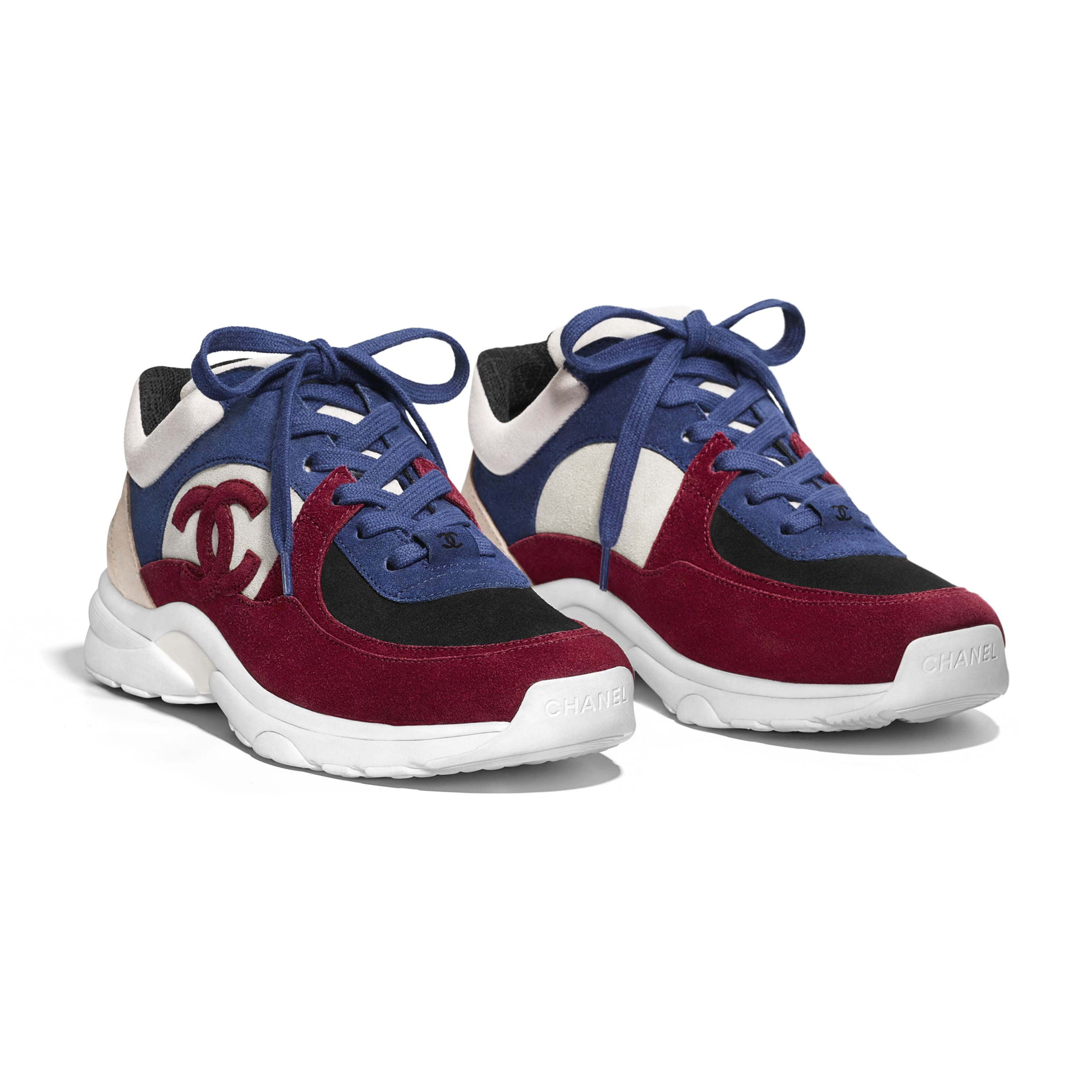 Sneakers - Navy Blue & Red - Suede Calfskin - Alternative view - see standard sized version