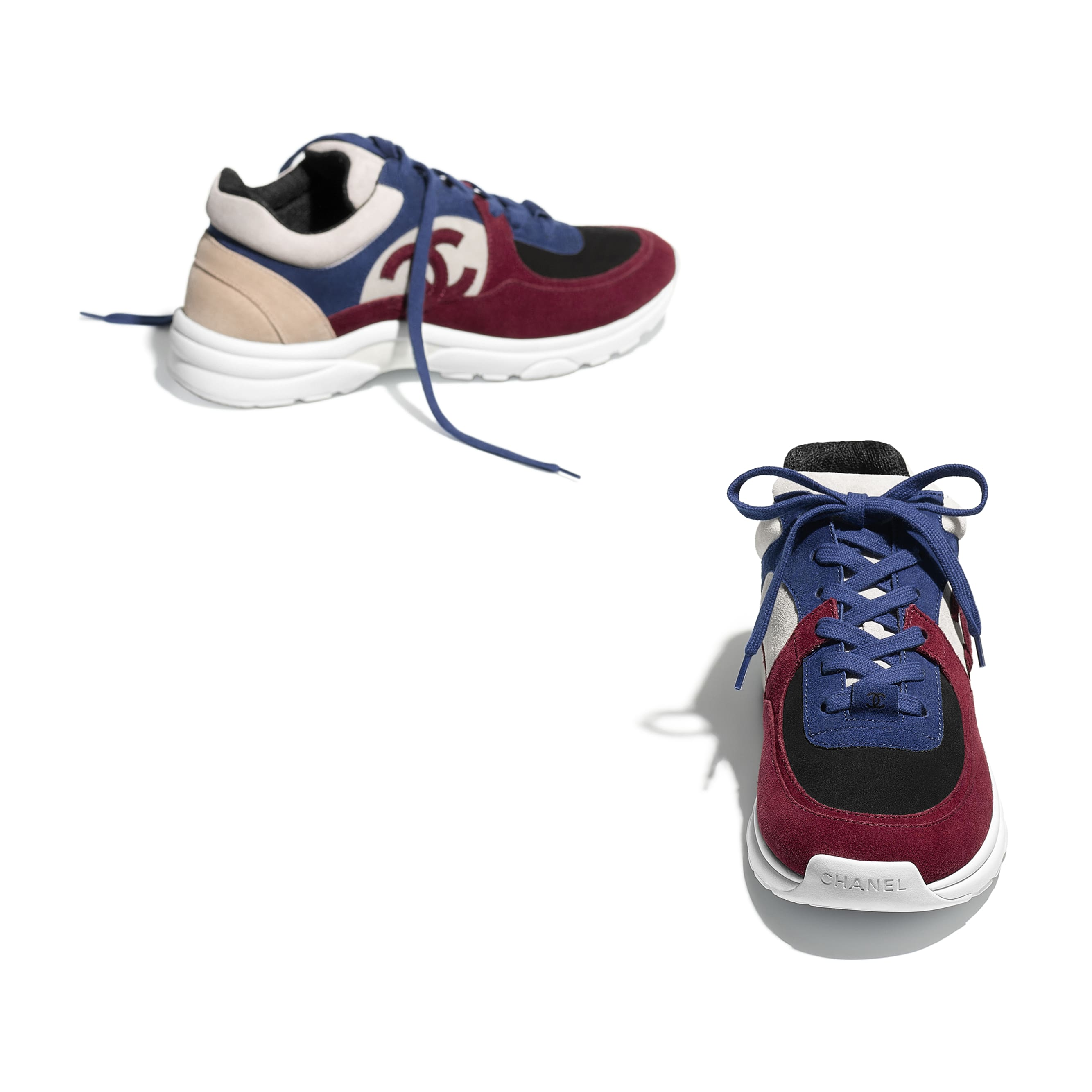 Sneakers - Navy Blue & Red - Suede Calfskin - Other view - see standard sized version