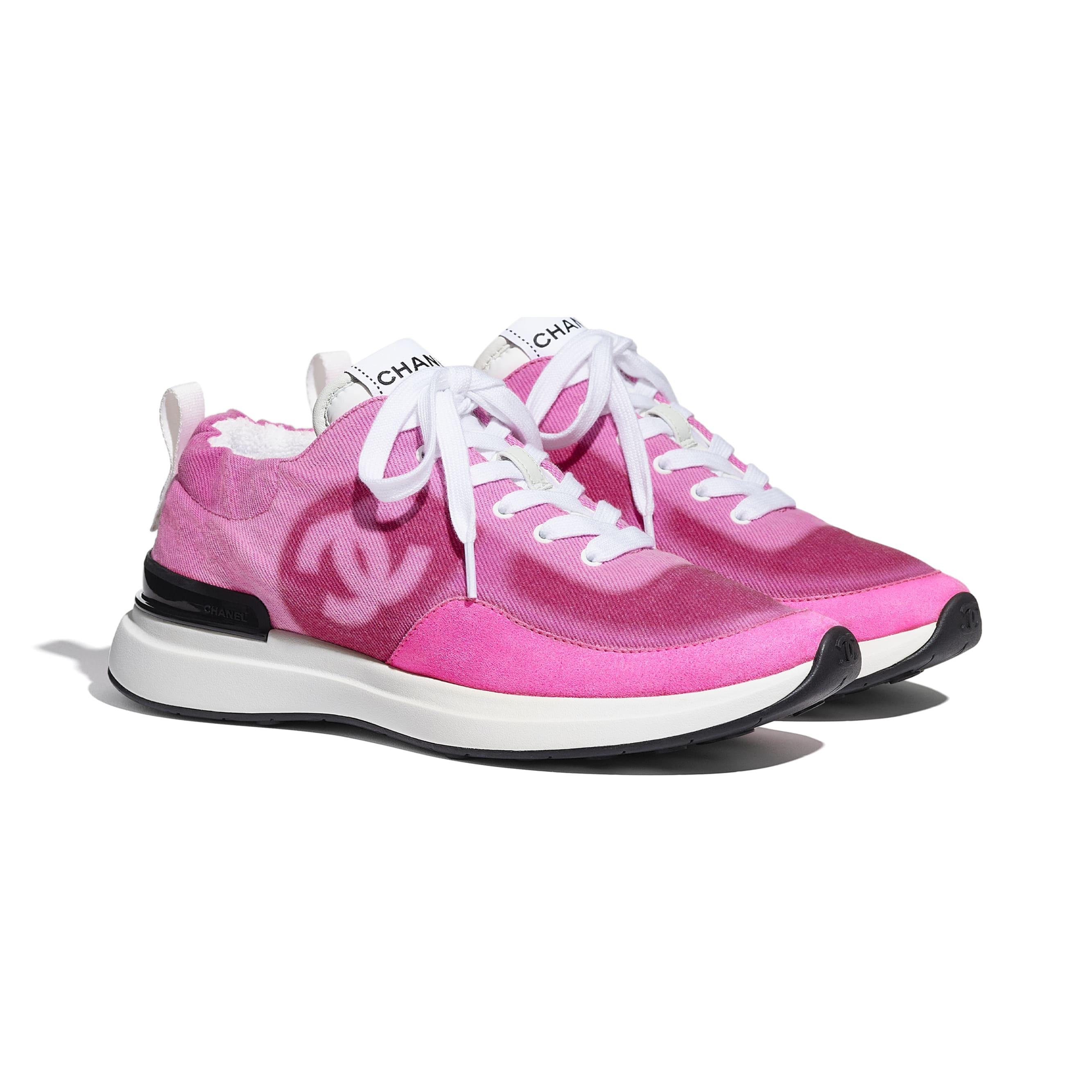 Trainers - Neon Pink - Denim & Suede Calfskin - CHANEL - Alternative view - see standard sized version