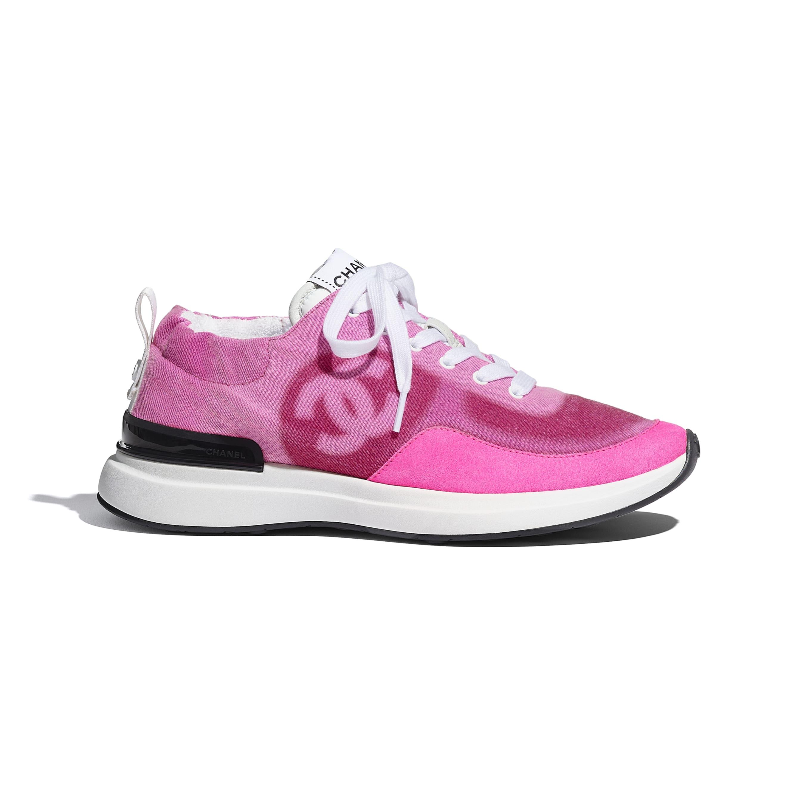 Trainers - Neon Pink - Denim & Suede Calfskin - CHANEL - Default view - see standard sized version