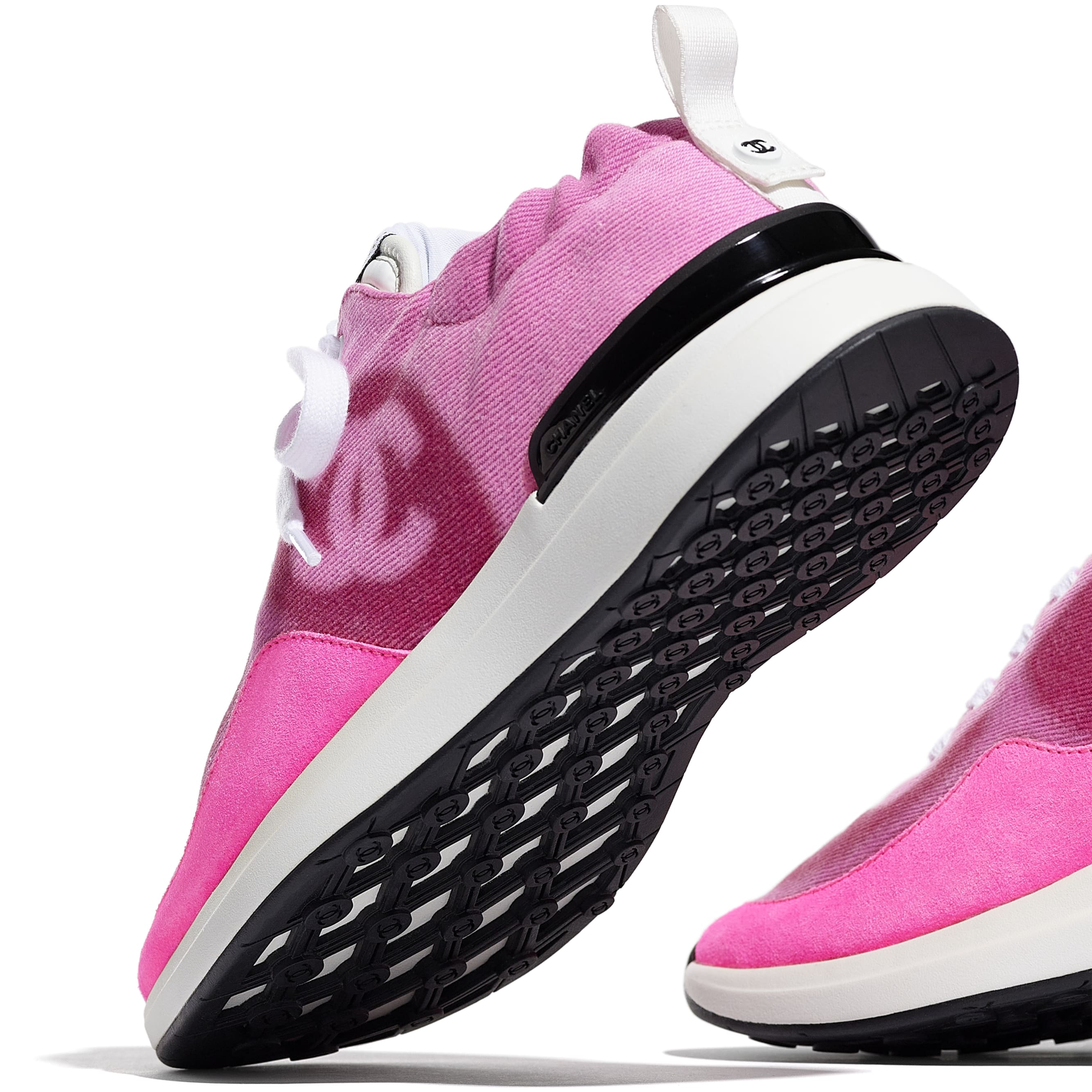 Trainers - Neon Pink - Denim & Suede Calfskin - CHANEL - Extra view - see standard sized version