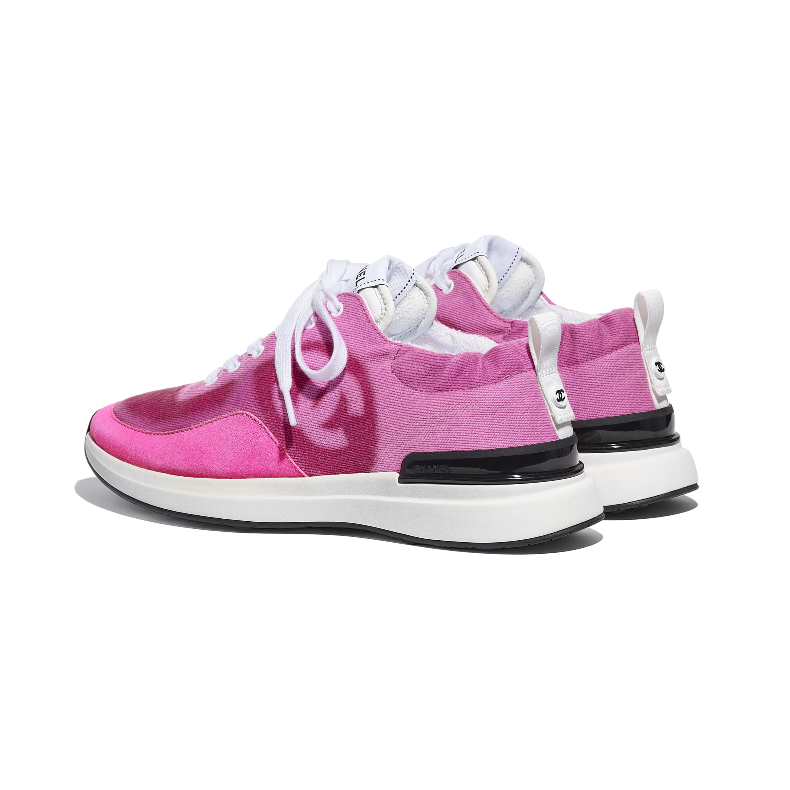 Trainers - Neon Pink - Denim & Suede Calfskin - CHANEL - Other view - see standard sized version