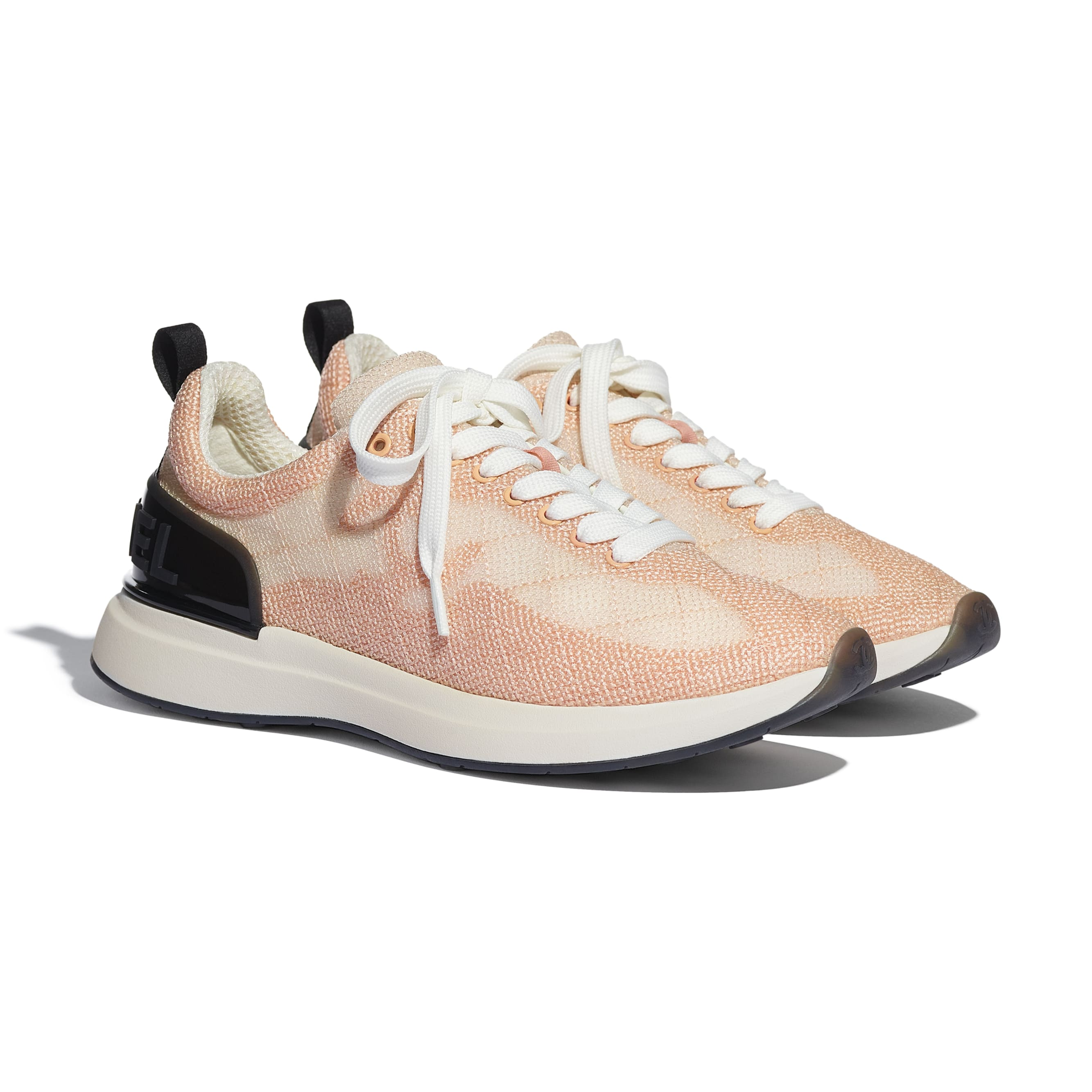 Sneakers - Pale Pink - Embroidered Mesh - CHANEL - Alternative view - see standard sized version