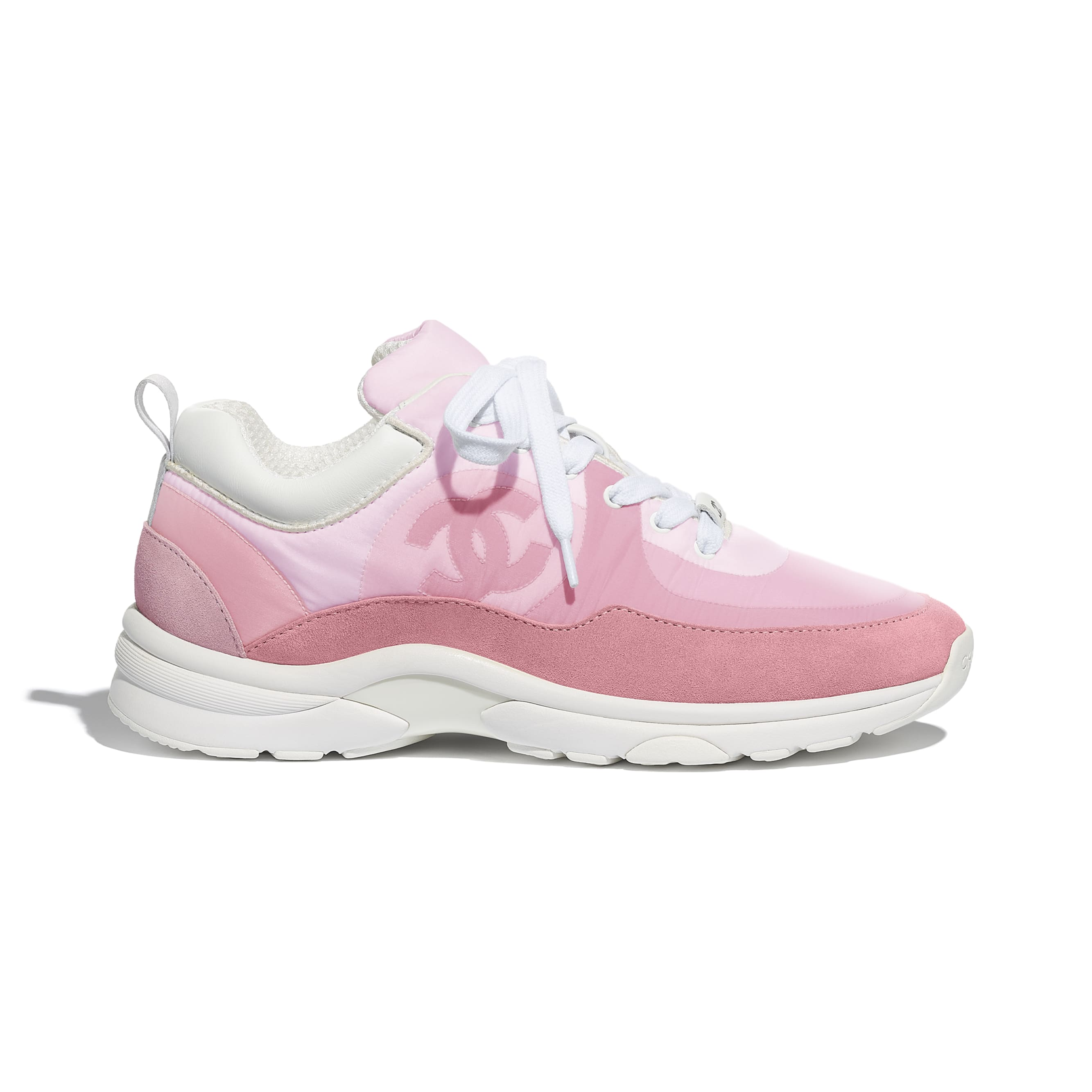 Trainers - Pale Pink - Suede Calfskin & Nylon - CHANEL - Default view - see standard sized version