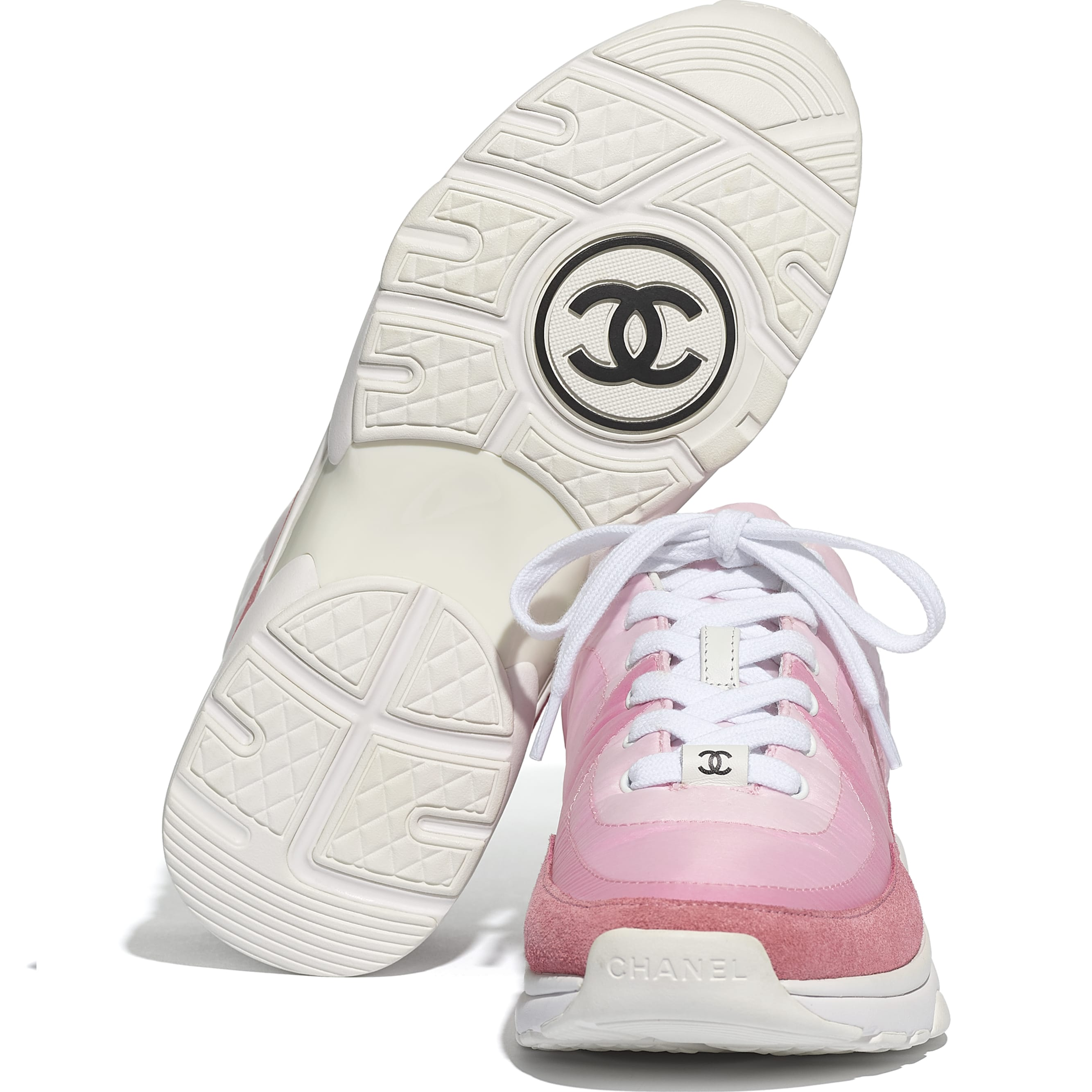 Trainers - Pale Pink - Suede Calfskin & Nylon - CHANEL - Extra view - see standard sized version