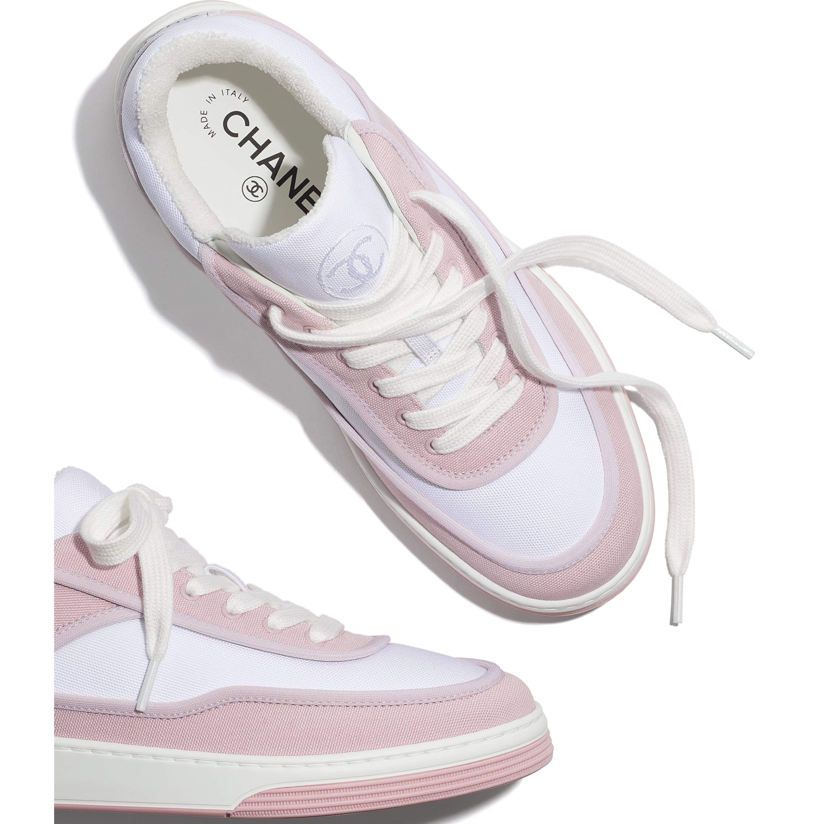 Trainers - Pink & White - Fabric - CHANEL - Extra view - see standard sized version