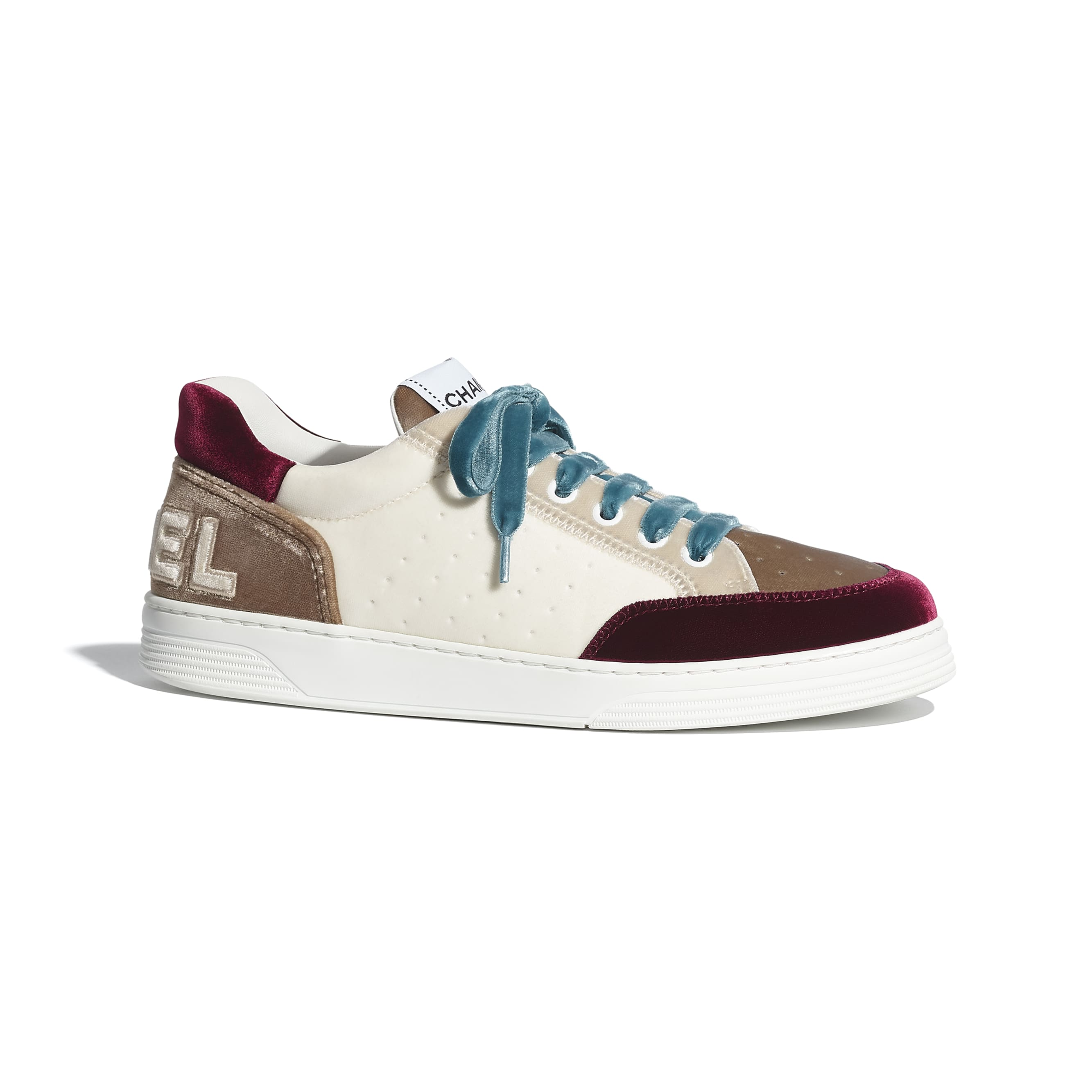 Trainers - White, Beige & Burgundy - Velvet - CHANEL - Default view - see standard sized version