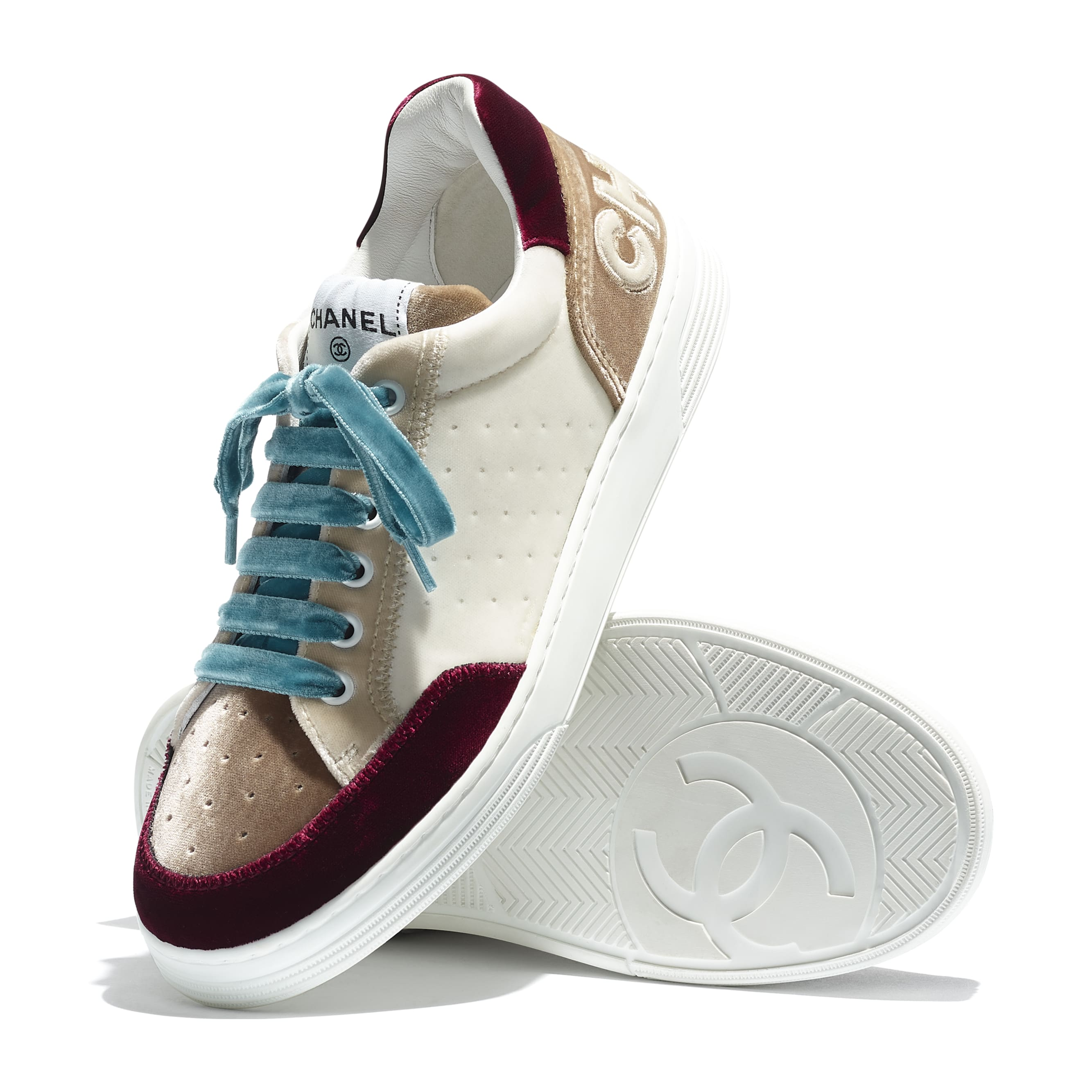 Trainers - White, Beige & Burgundy - Velvet - CHANEL - Extra view - see standard sized version
