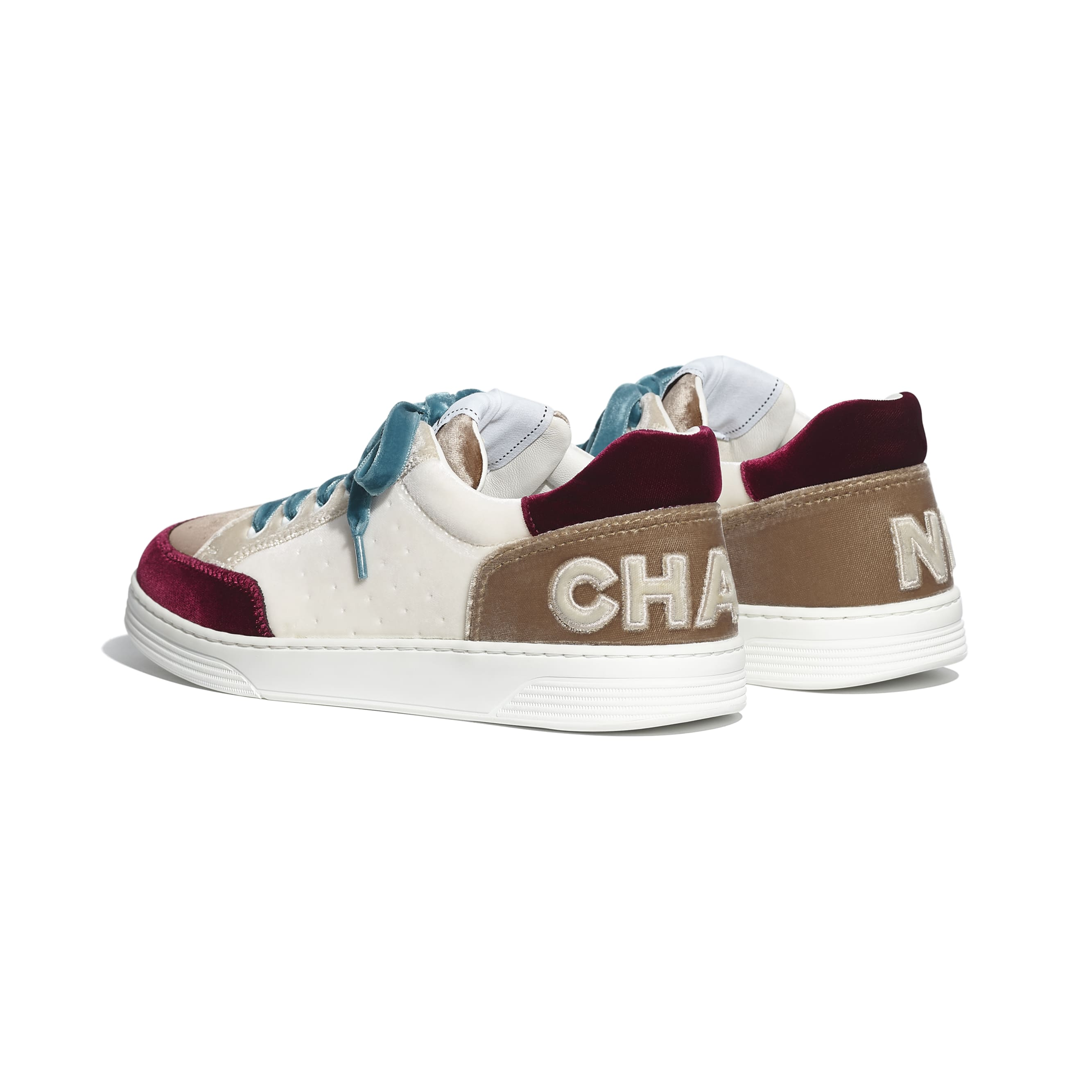 Trainers - White, Beige & Burgundy - Velvet - CHANEL - Other view - see standard sized version