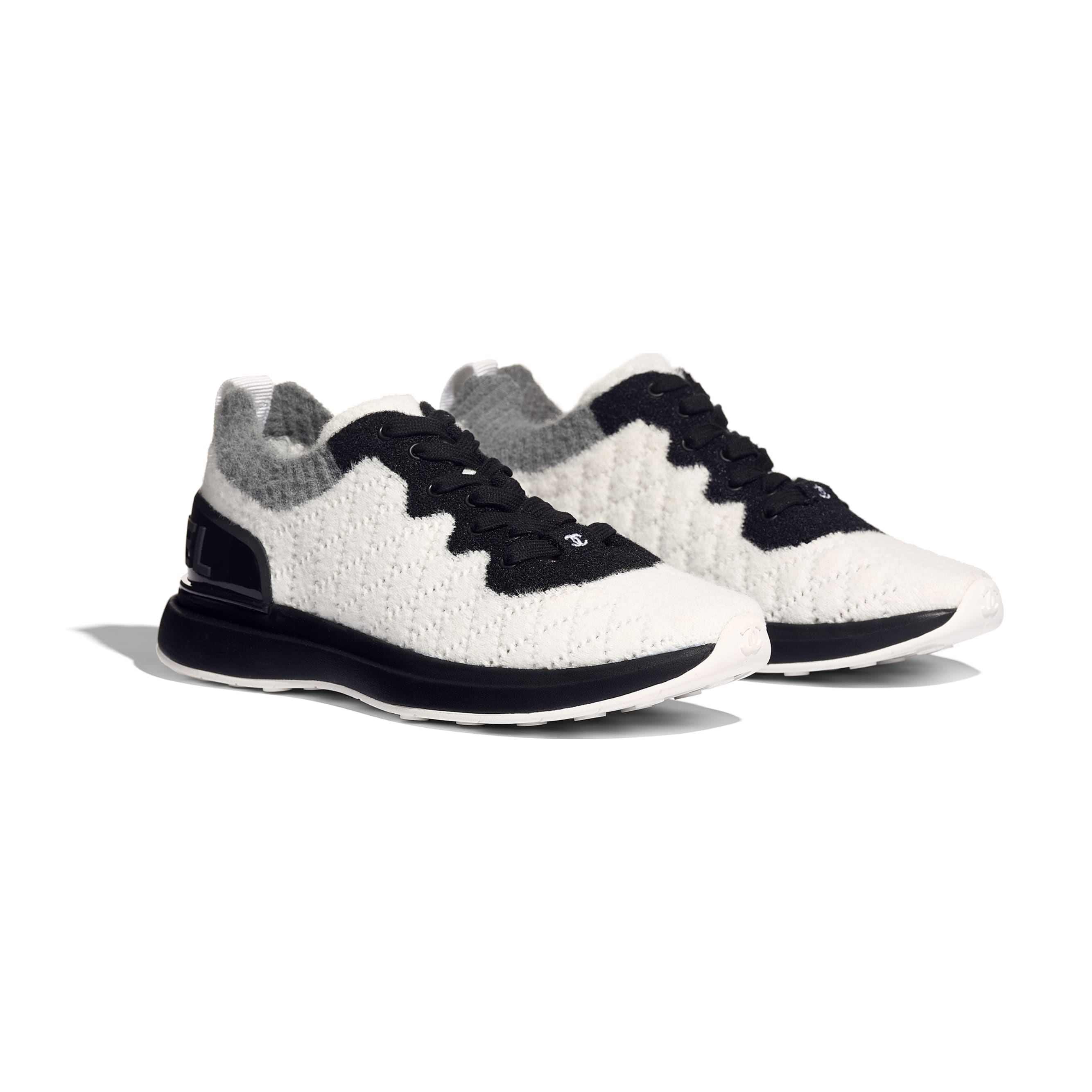 Trainers - White, Black & Gray - Mixed Fibres - Alternative view - see standard sized version