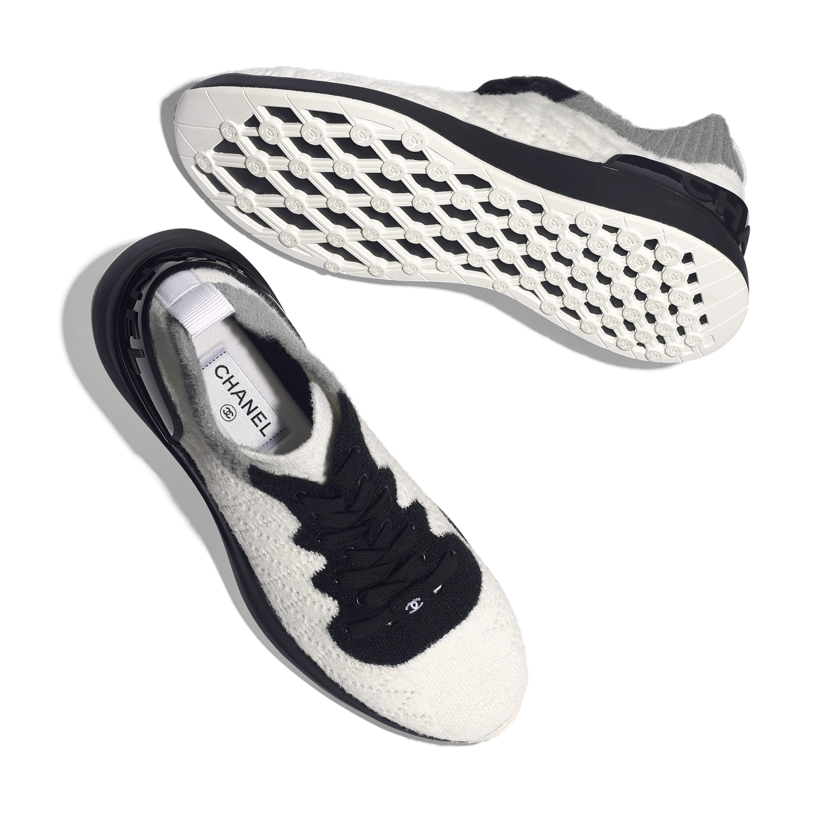 Trainers - White, Black & Gray - Mixed Fibres - Extra view - see standard sized version