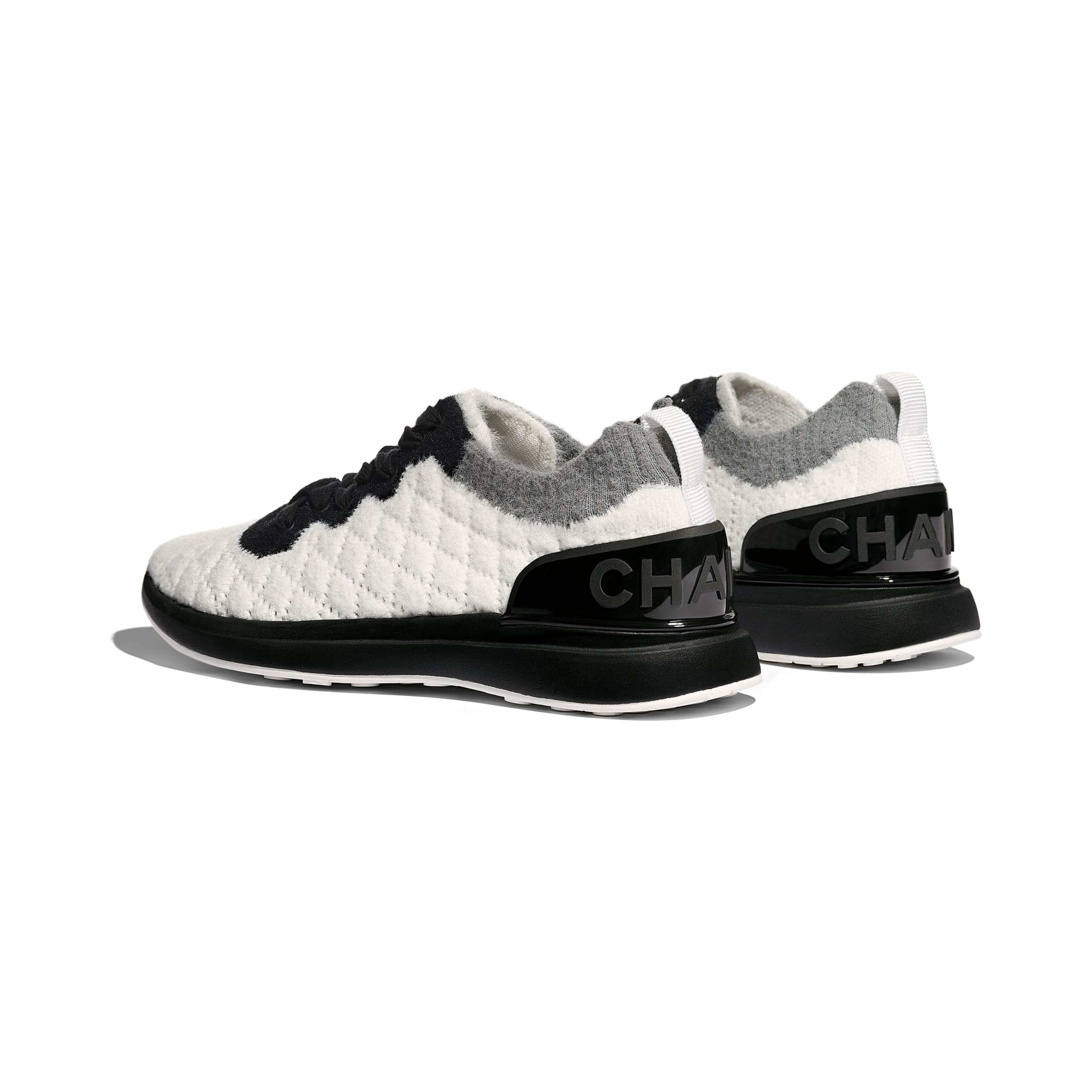 Trainers - White, Black & Gray - Mixed Fibres - Other view - see standard sized version