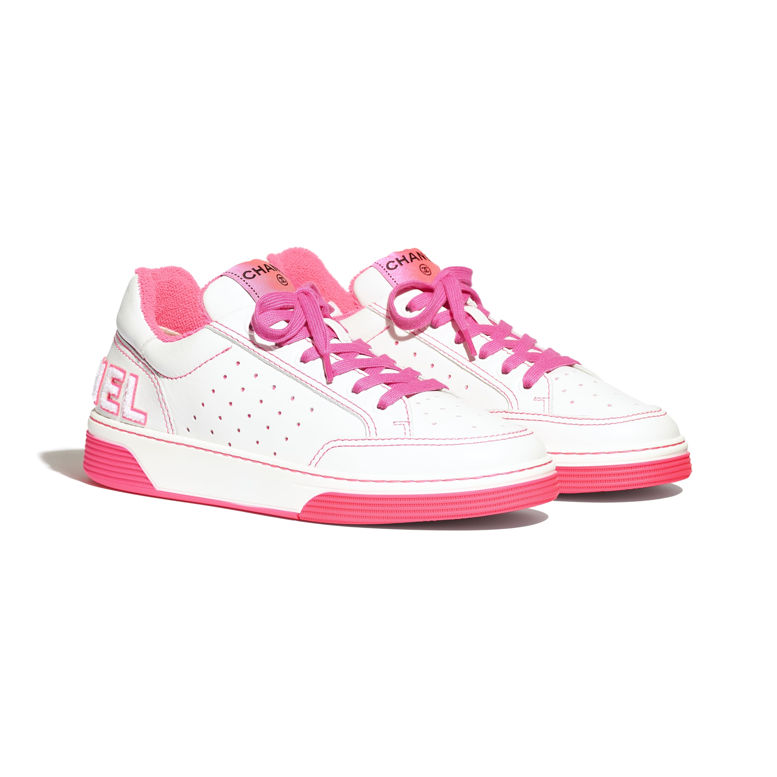 Trainers - White & Fuchsia - Calfskin - CHANEL - Alternative view - see standard sized version