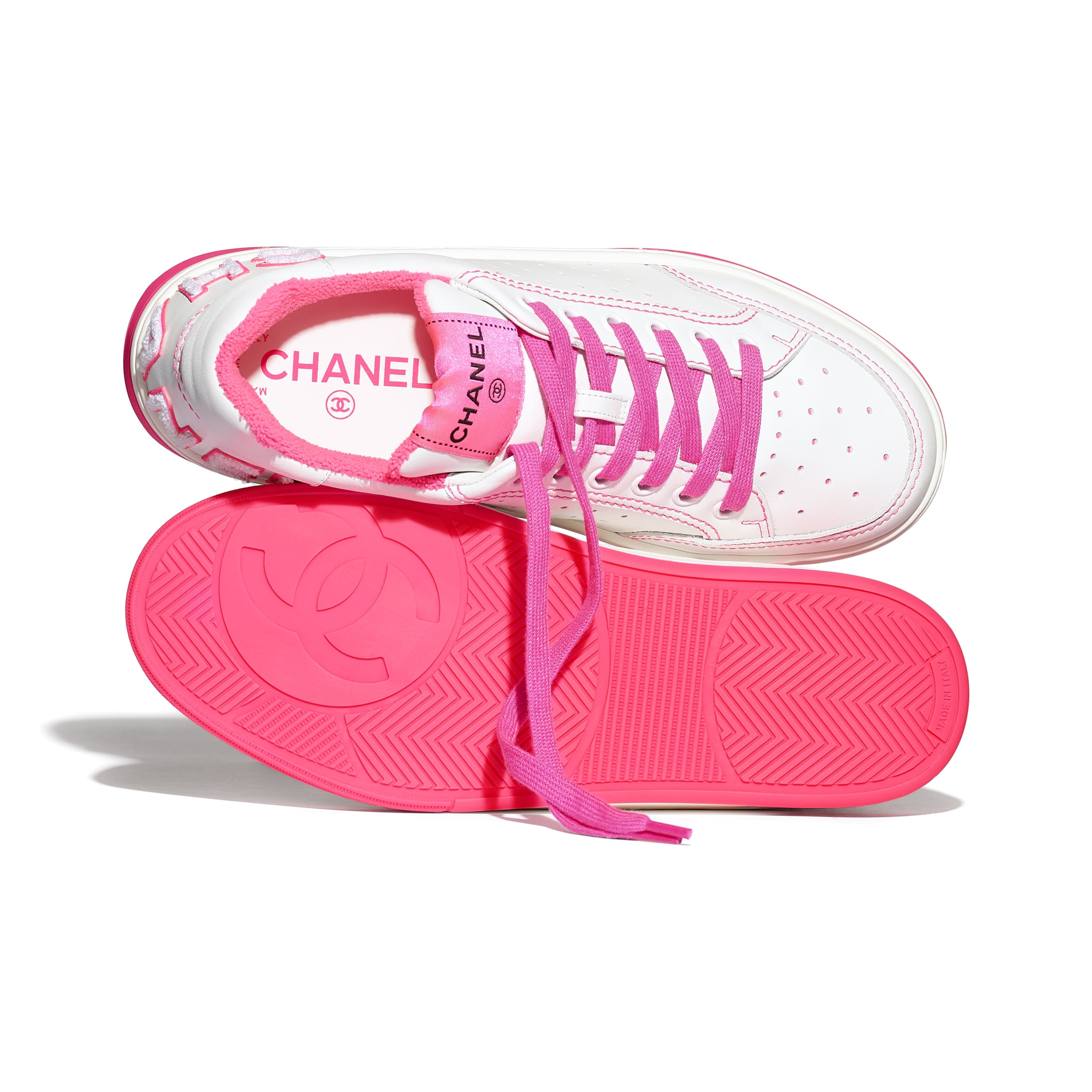 Trainers - White & Fuchsia - Calfskin - Extra view - see standard sized version