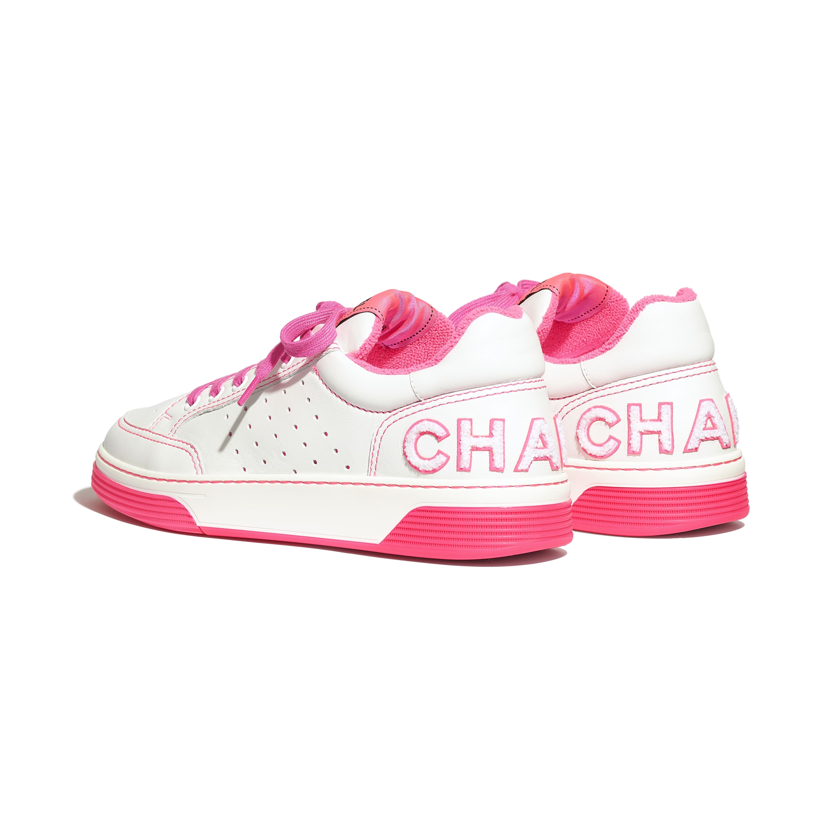 Trainers - White & Fuchsia - Calfskin - CHANEL - Other view - see standard sized version