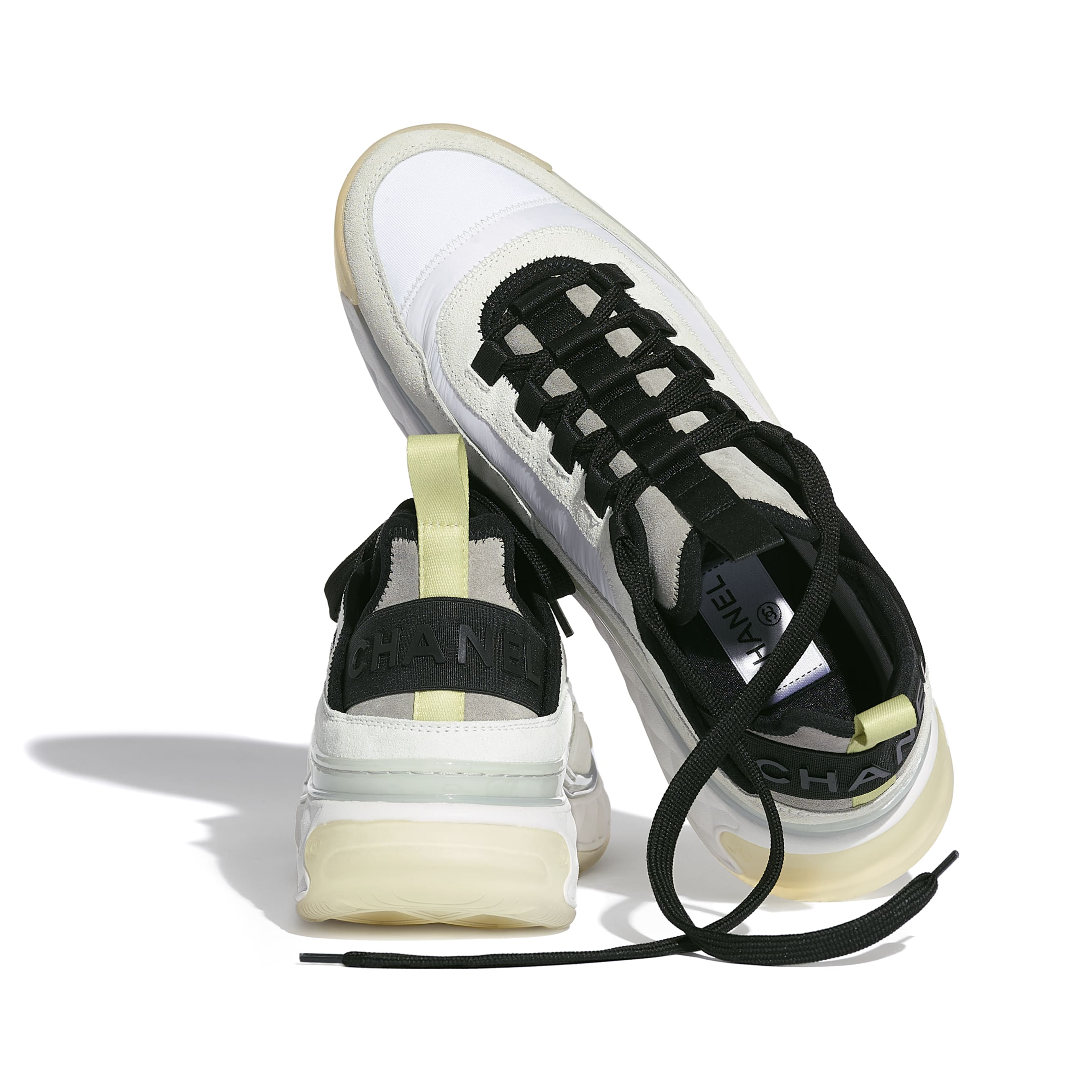 Trainers - White, Grey & Yellow - Suede Calfskin, Nylon & Grosgrain - CHANEL - Extra view - see standard sized version