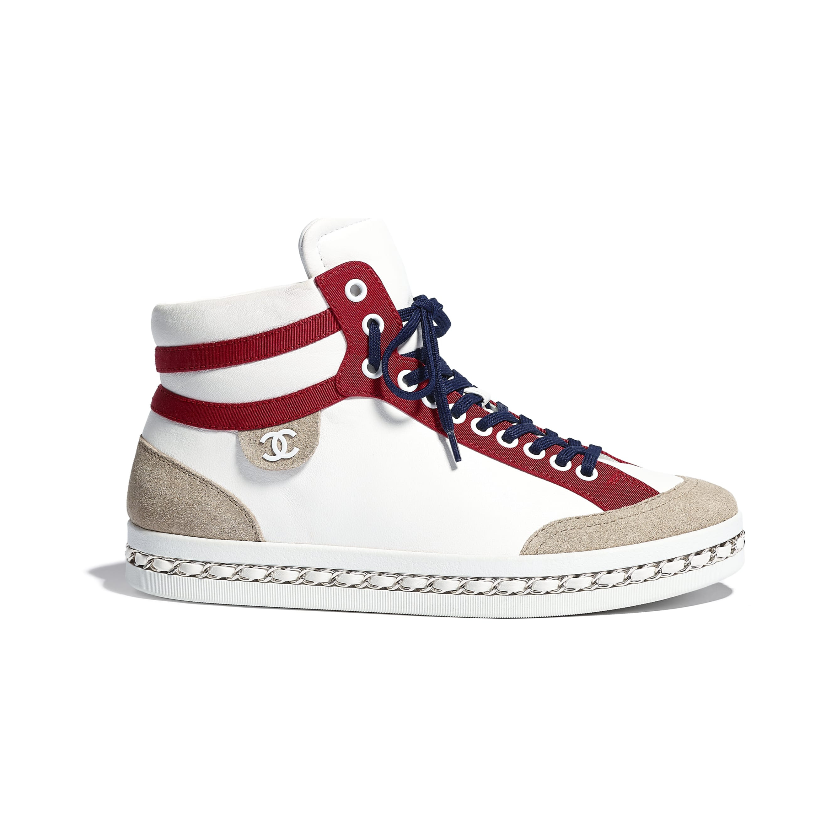 Trainers - White - Lambskin & Suede Calfskin - Default view - see standard sized version