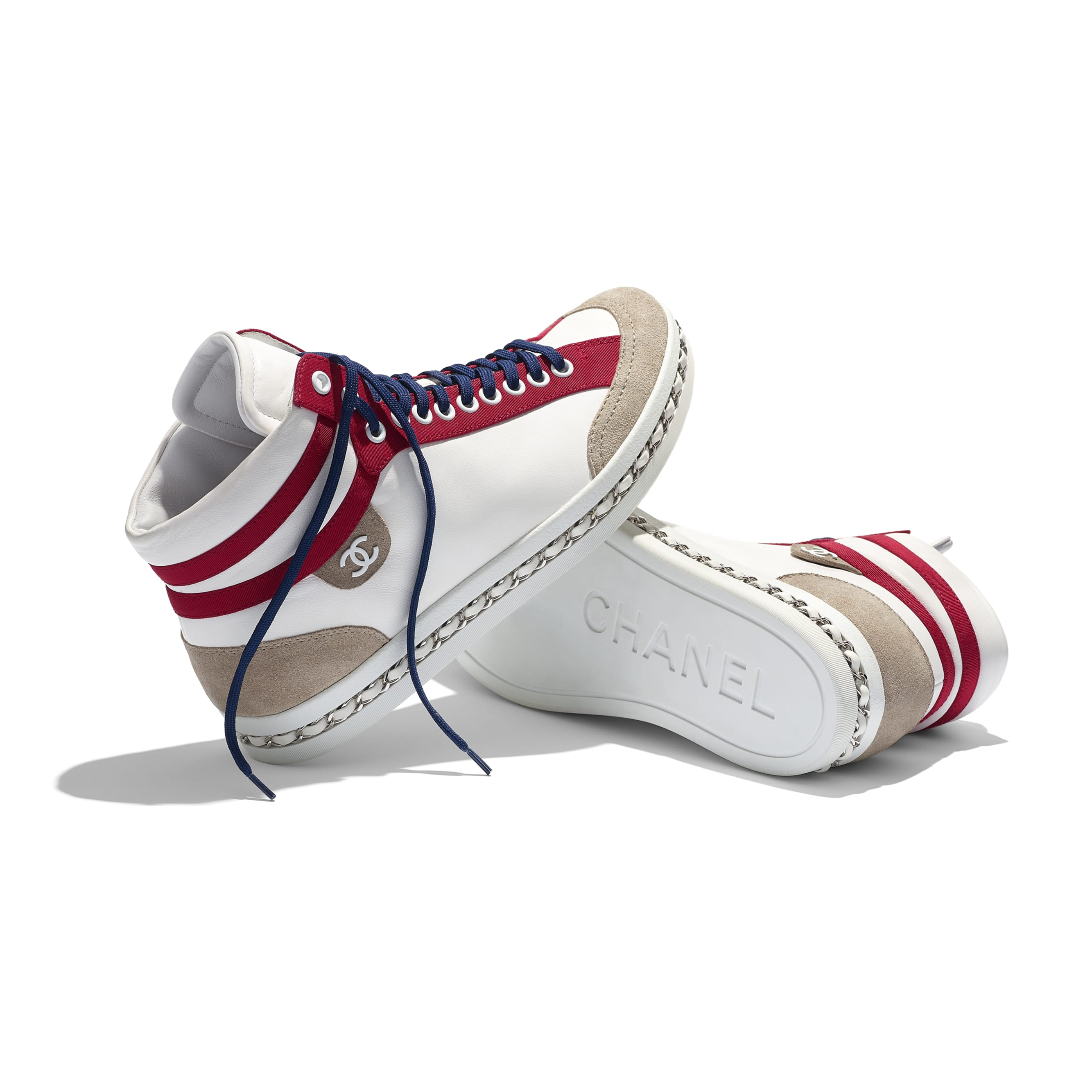 Trainers - White - Lambskin & Suede Calfskin - Extra view - see standard sized version
