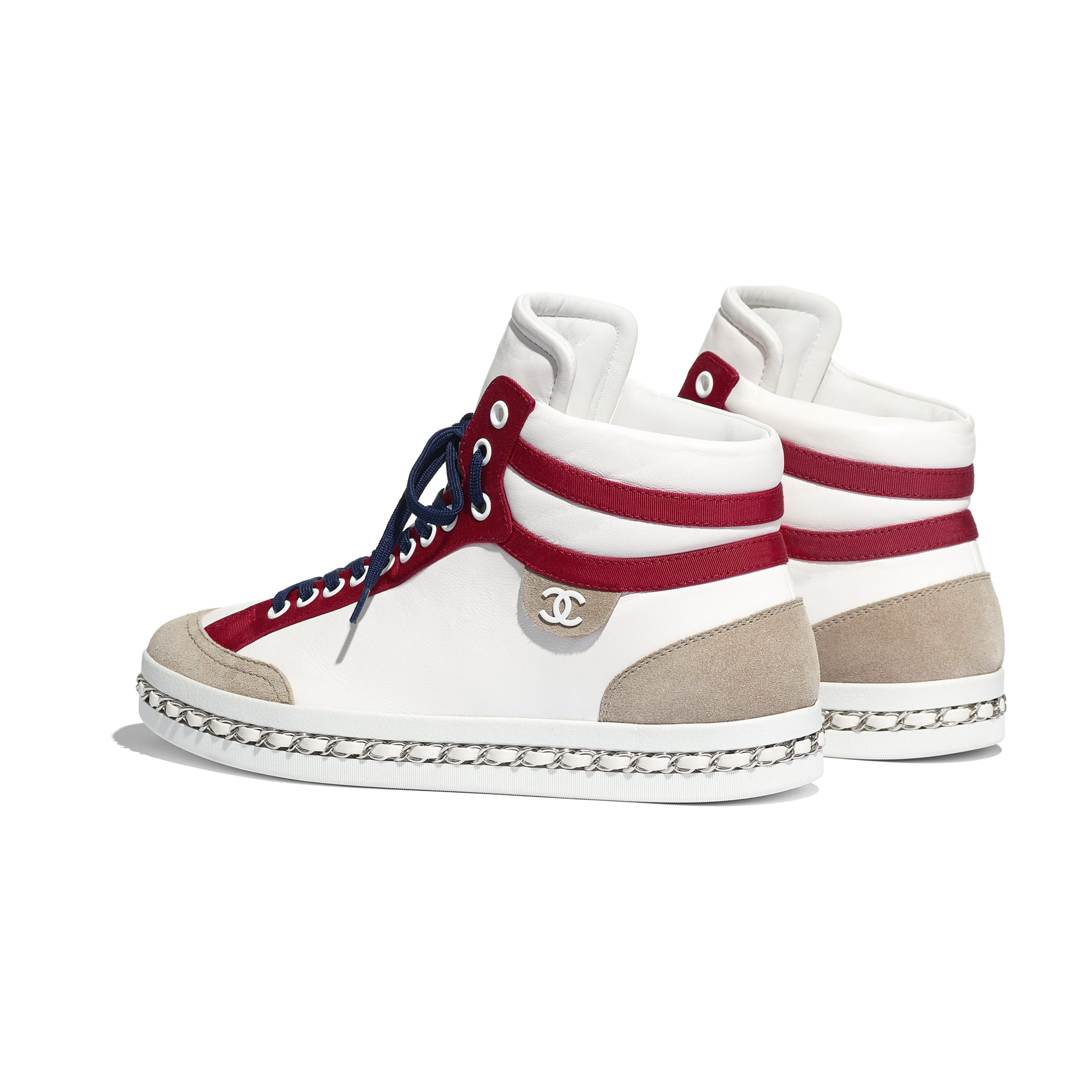 Trainers - White - Lambskin & Suede Calfskin - Other view - see standard sized version