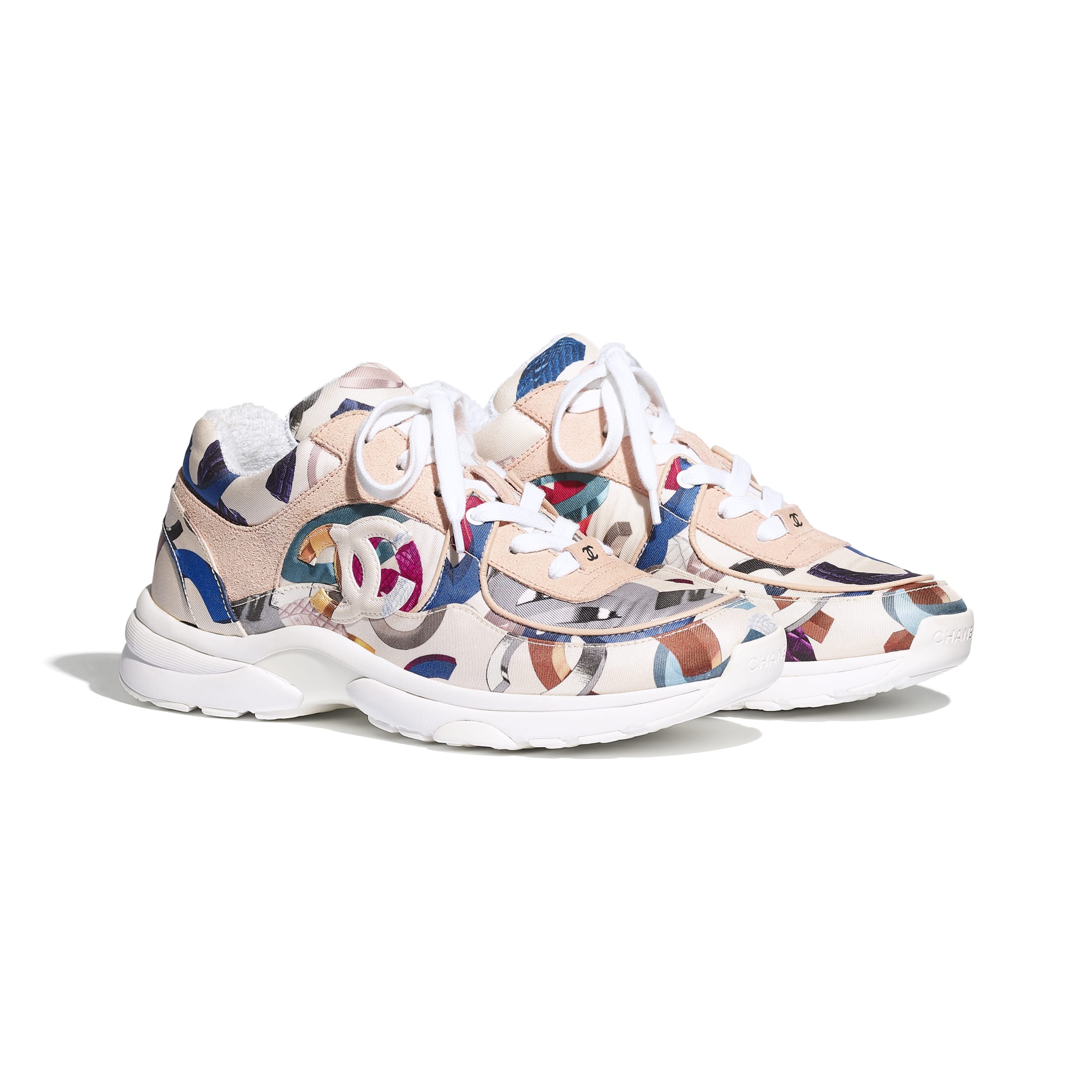 Sneakers - White & Multicolor - Printed Fabric & Suede Calfskin - CHANEL - Alternative view - see standard sized version