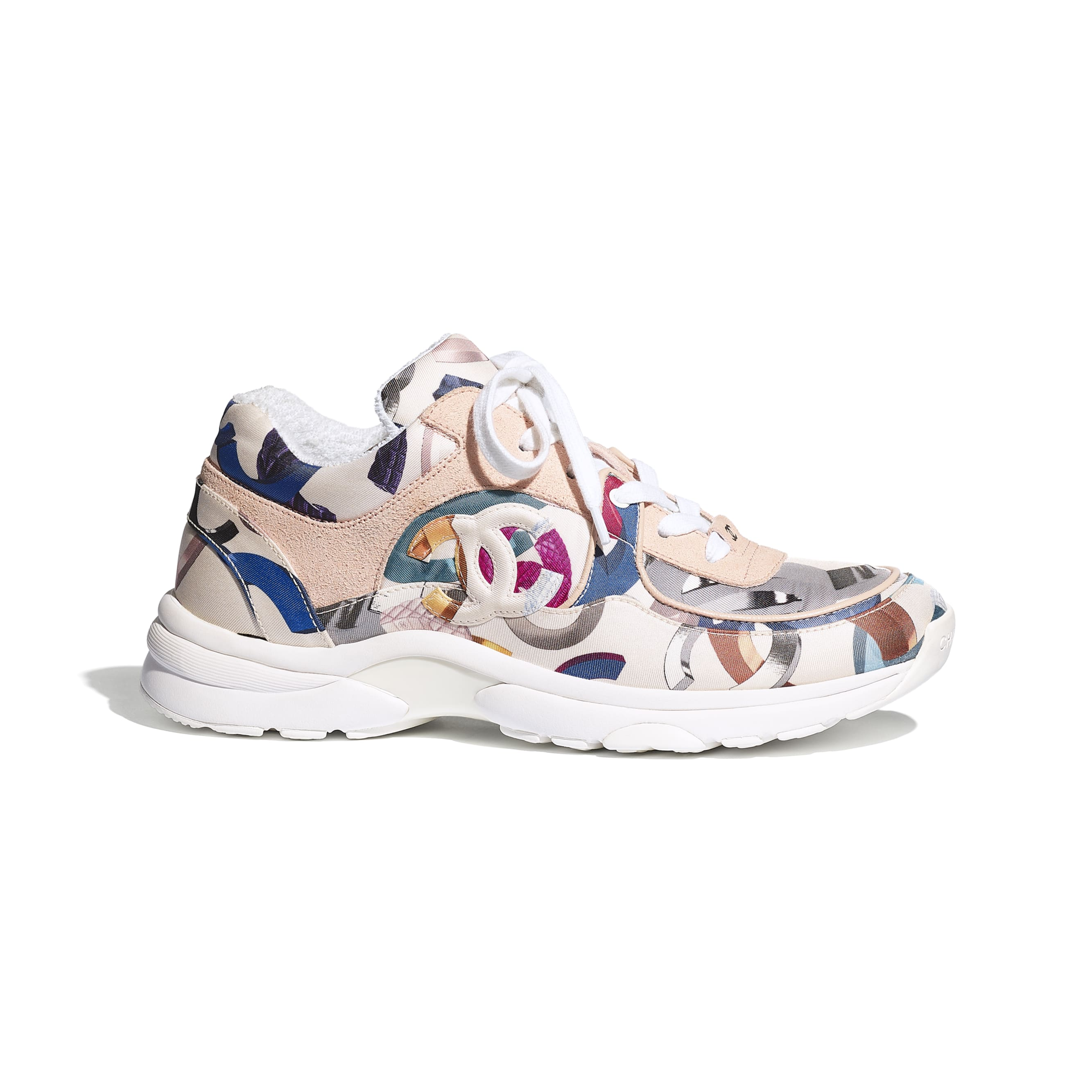 Sneakers - White & Multicolor - Printed Fabric & Suede Calfskin - CHANEL - Default view - see standard sized version