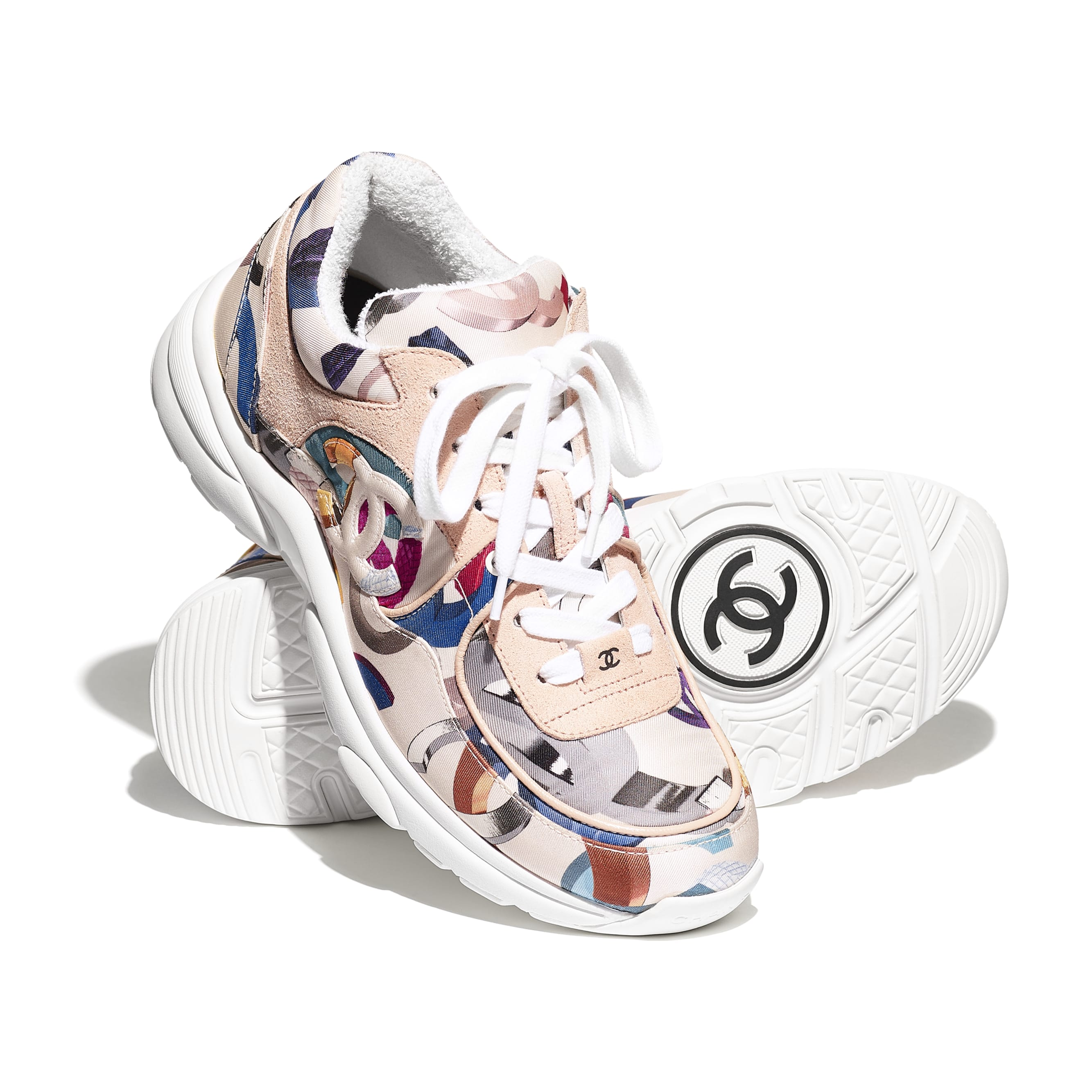 Sneakers - White & Multicolor - Printed Fabric & Suede Calfskin - CHANEL - Extra view - see standard sized version