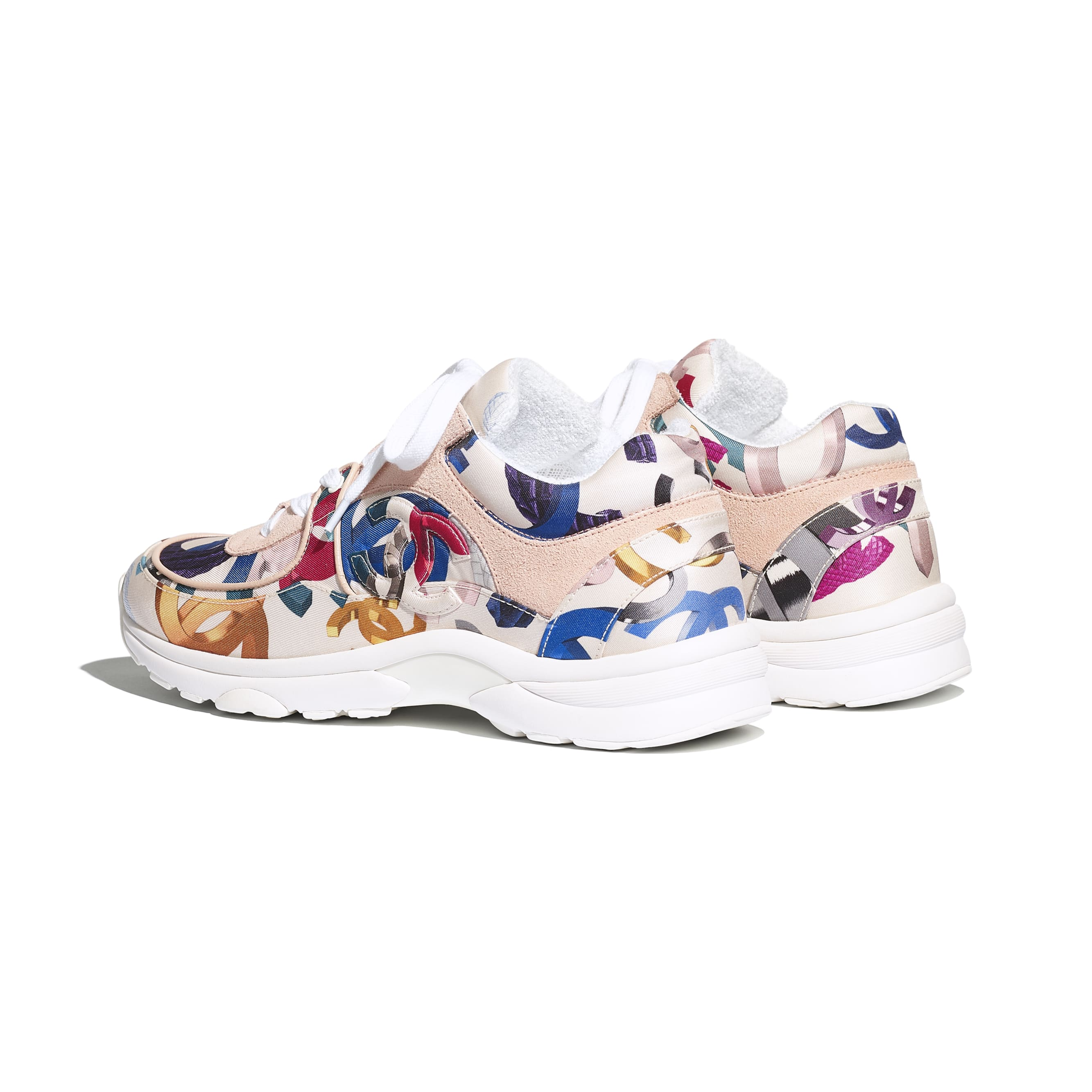 Sneakers - White & Multicolor - Printed Fabric & Suede Calfskin - CHANEL - Other view - see standard sized version