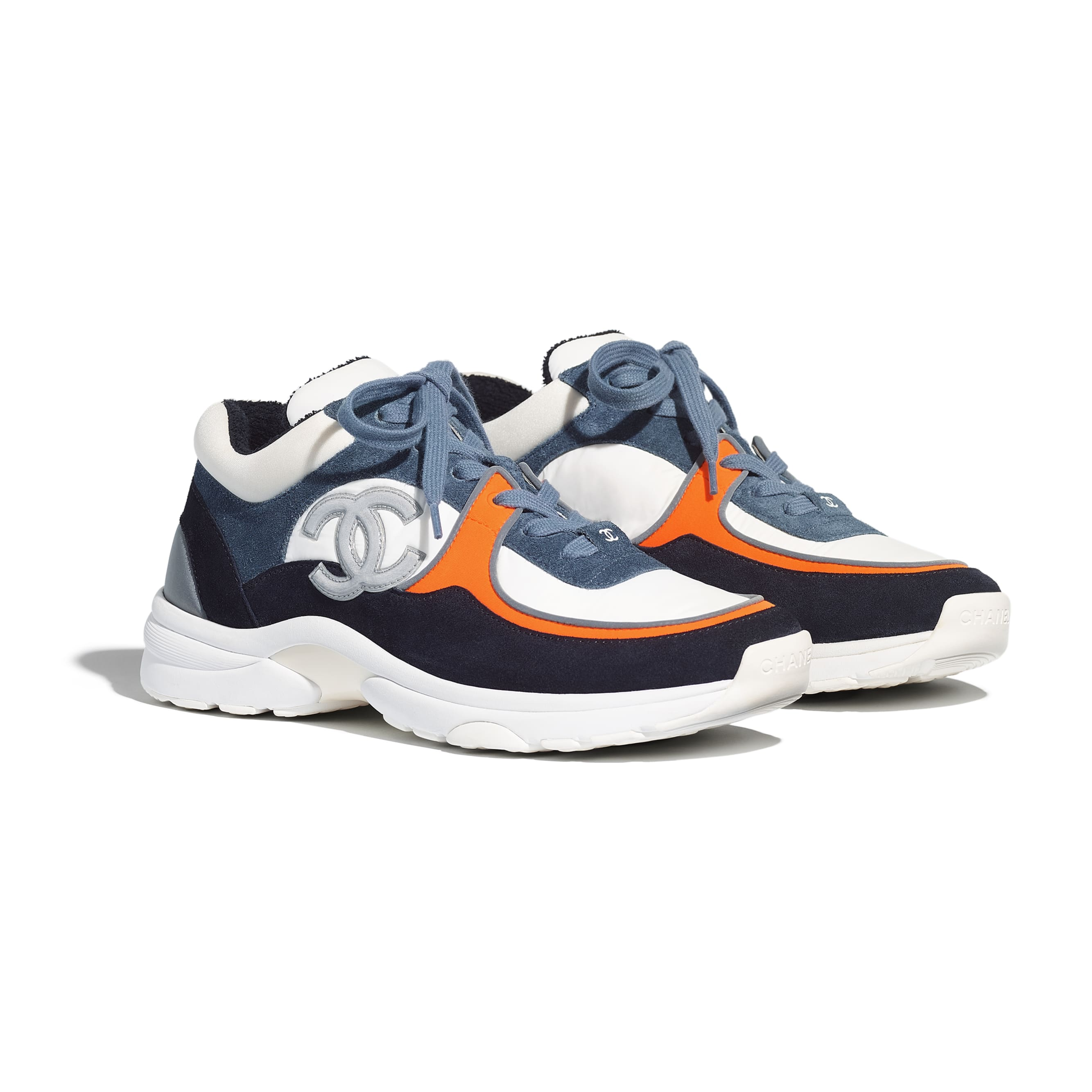 Trainers - White & Navy Blue - Calfskin & Mixed Fibers - Alternative view - see standard sized version
