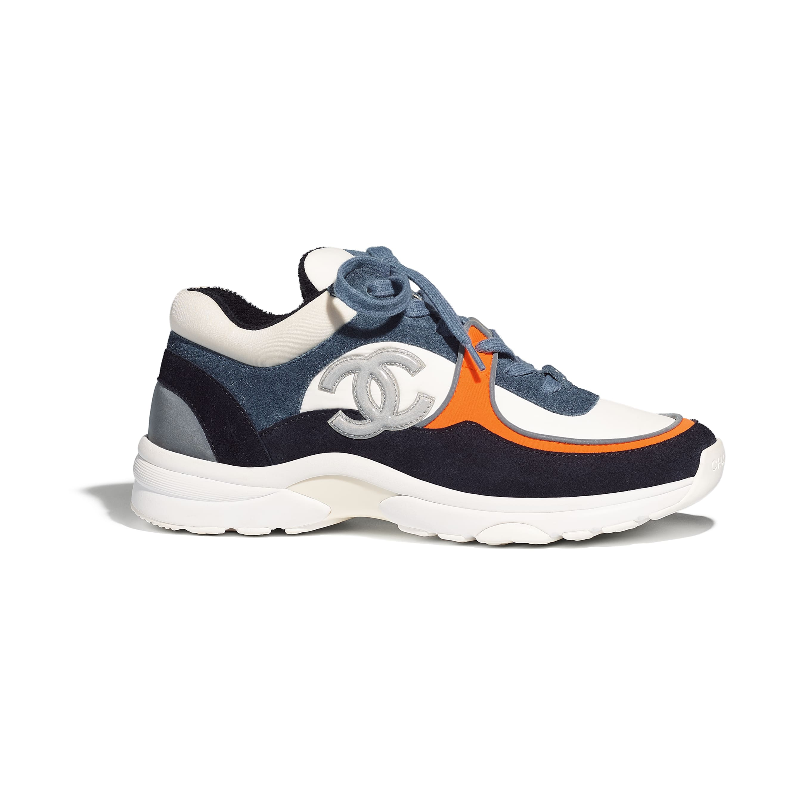 Trainers - White & Navy Blue - Calfskin & Mixed Fibers - Default view - see standard sized version