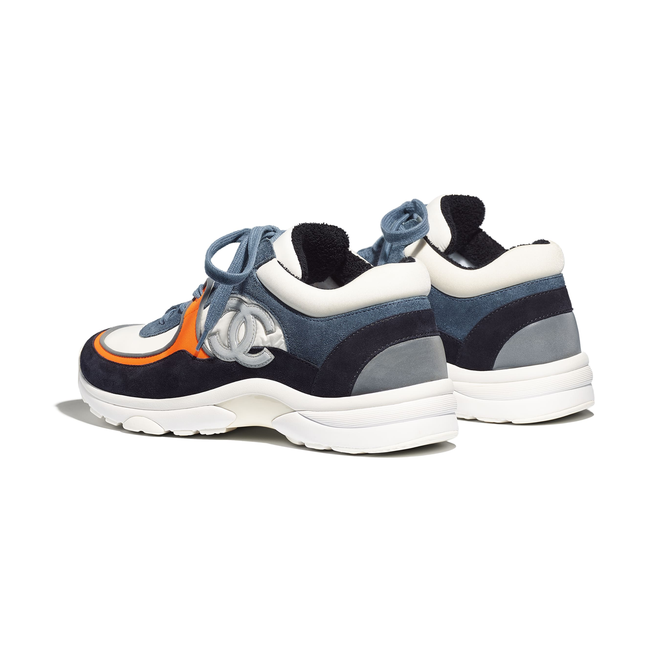 Trainers - White & Navy Blue - Calfskin & Mixed Fibers - Other view - see standard sized version