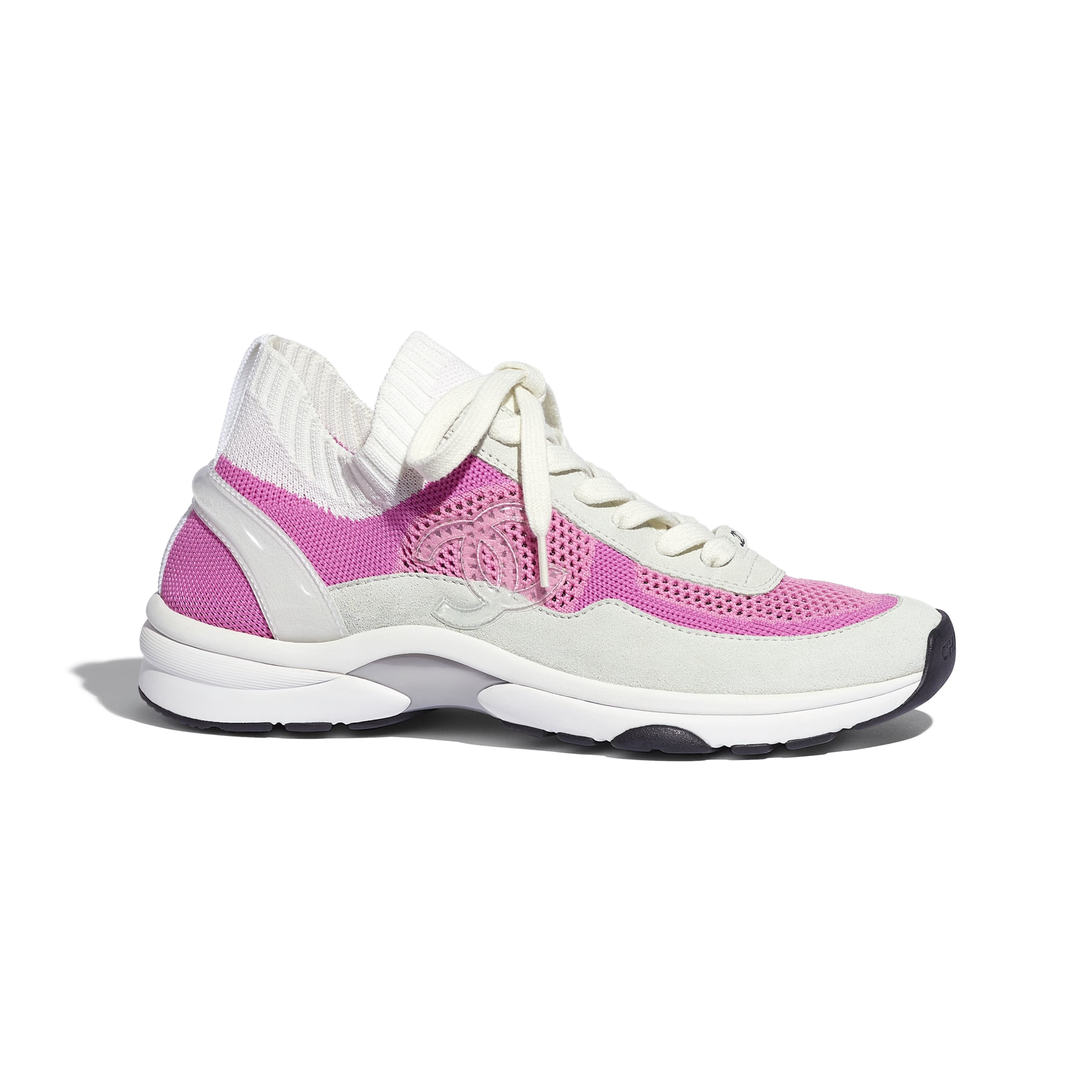 Trainers - White & Pink - Fabric & Suede Calfskin - CHANEL - Default view - see standard sized version